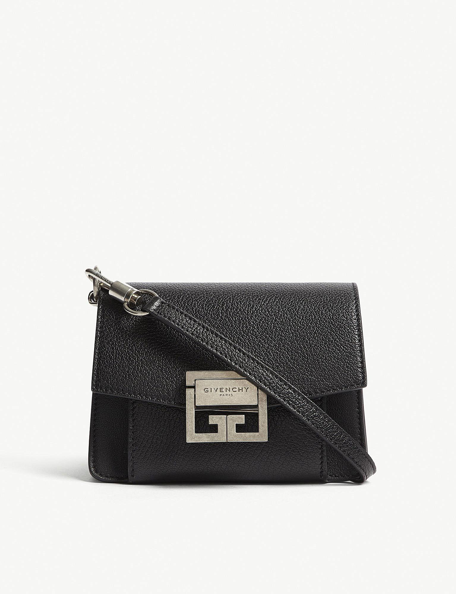 ce1b33afd36697 Givenchy Gv3 Logo Mini Leather Cross-body Bag in Black - Lyst