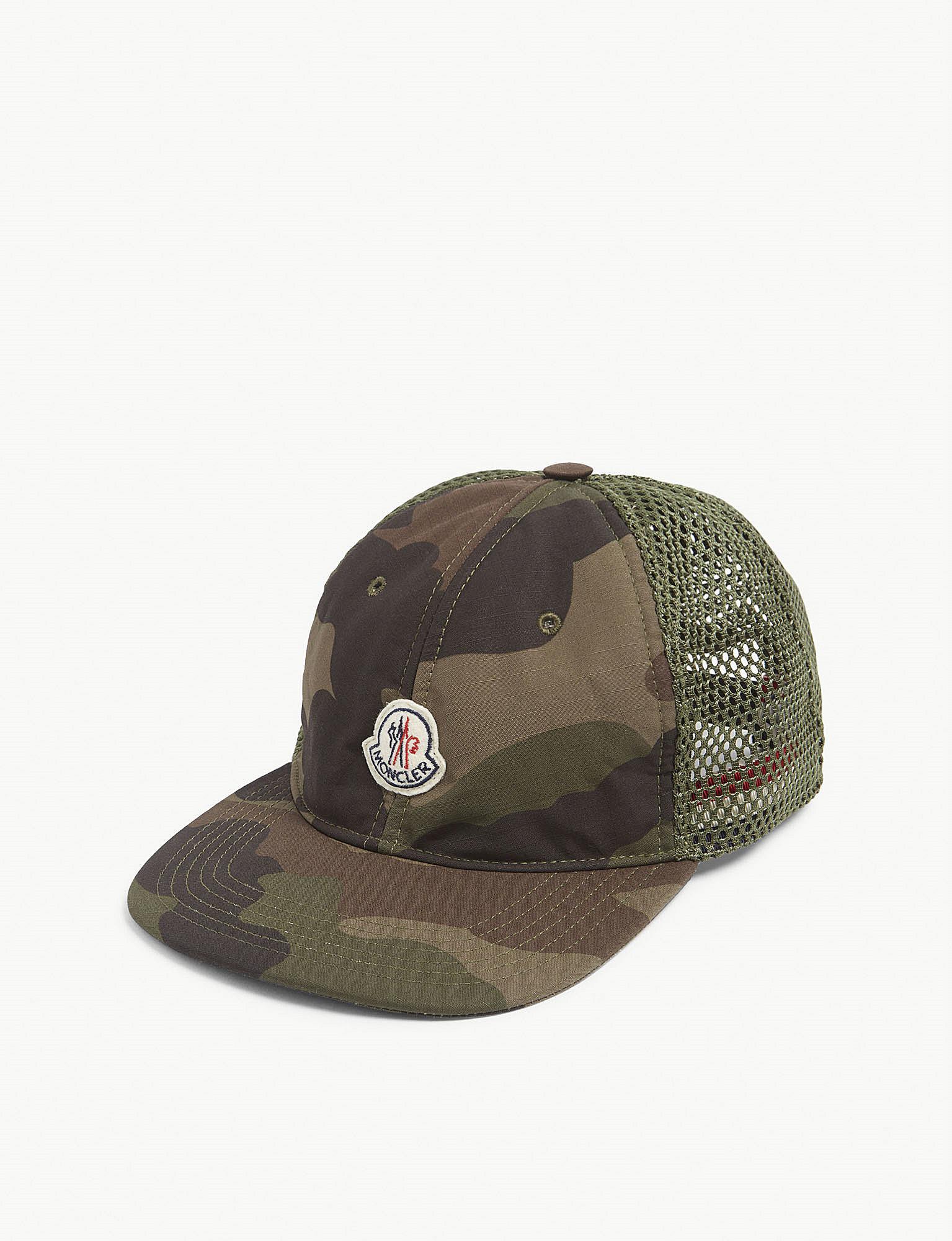 Lyst - Moncler Logo Mesh Camouflage Baseball Cap in Green for Men 24a3e52b640