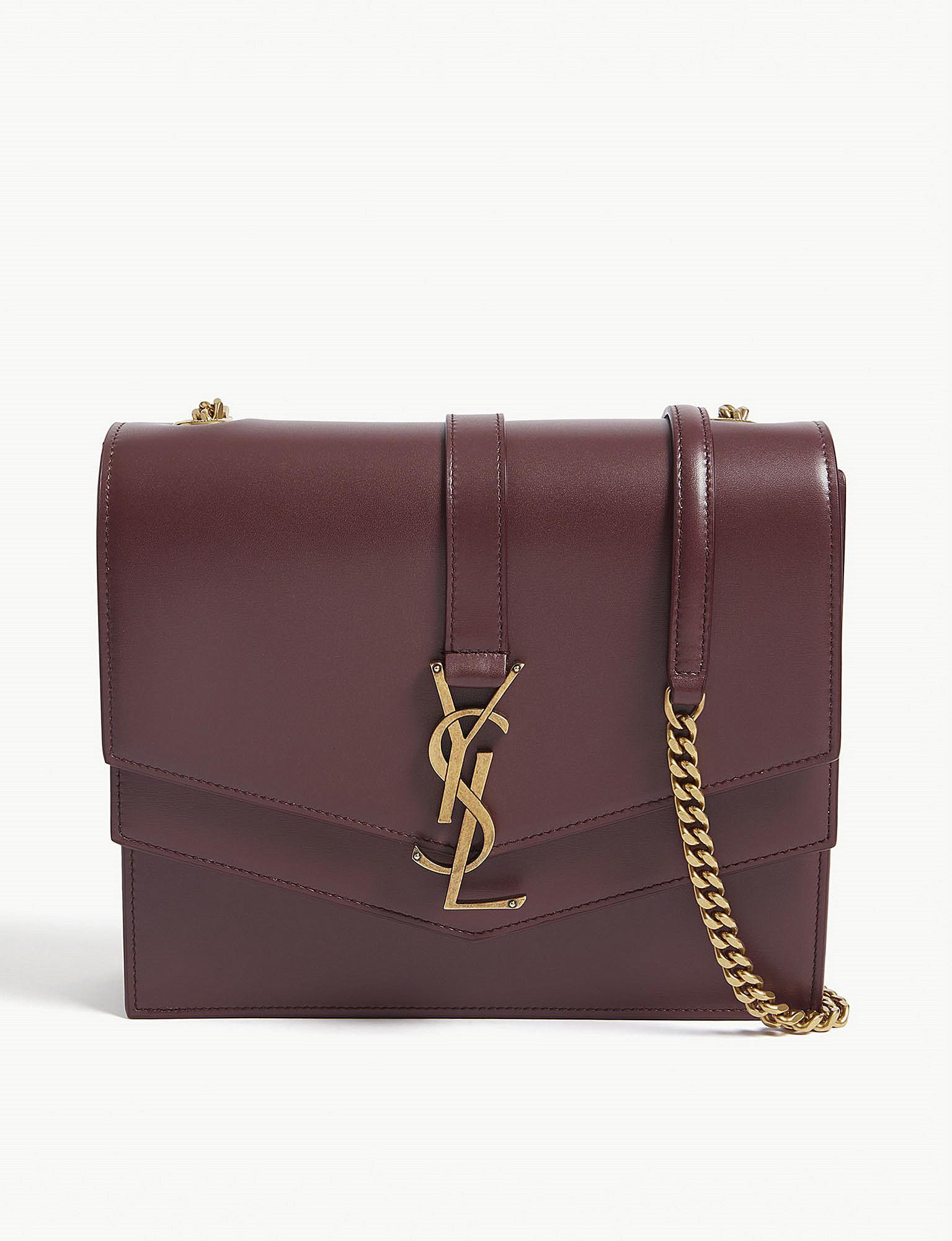 a0f8366365d0 Lyst - Saint Laurent Sulpice Monogram Leather Shoulder Bag in Purple
