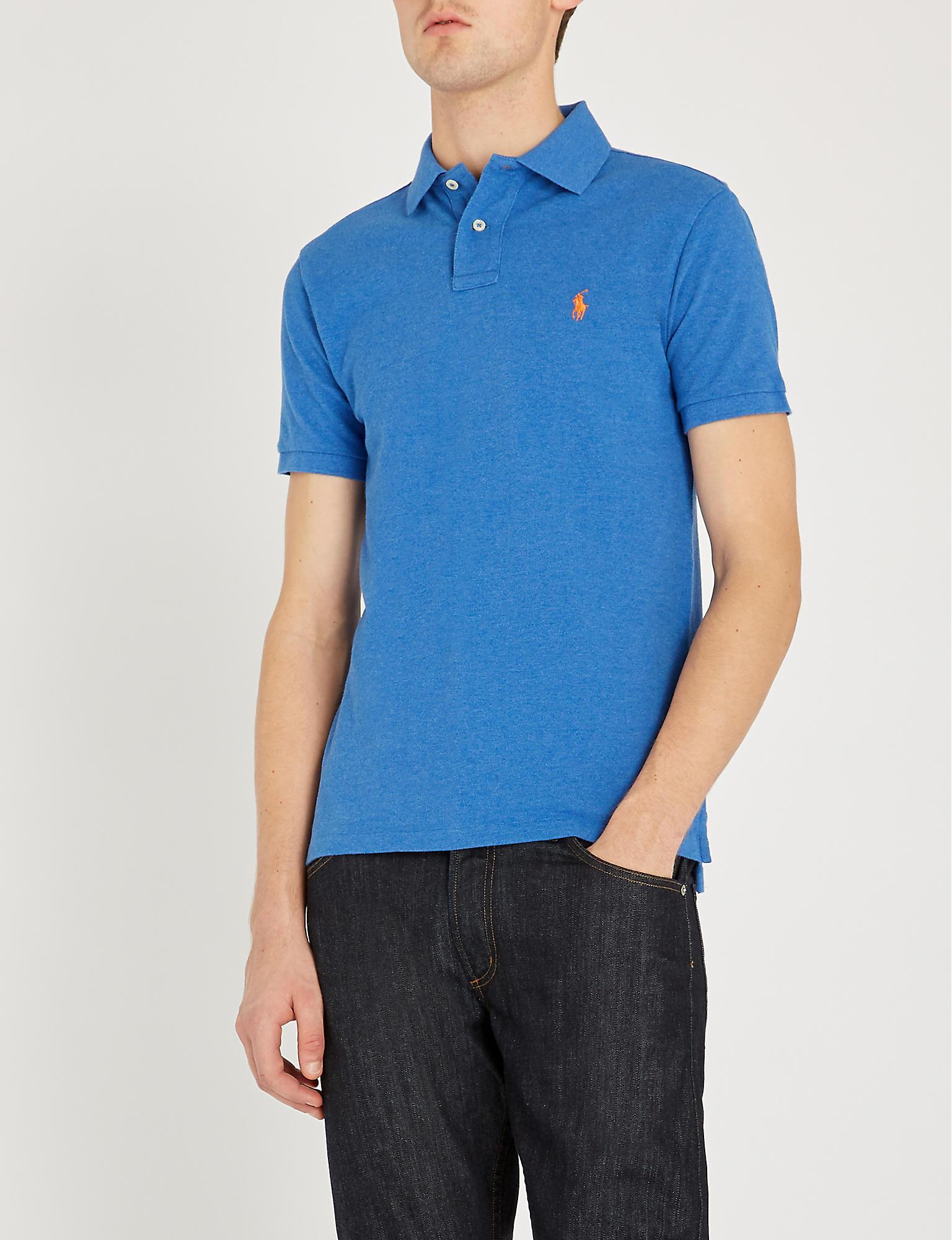 a90951df Polo Ralph Lauren. Men's Blue Logo-embroidered Cotton-piqué Polo Shirt