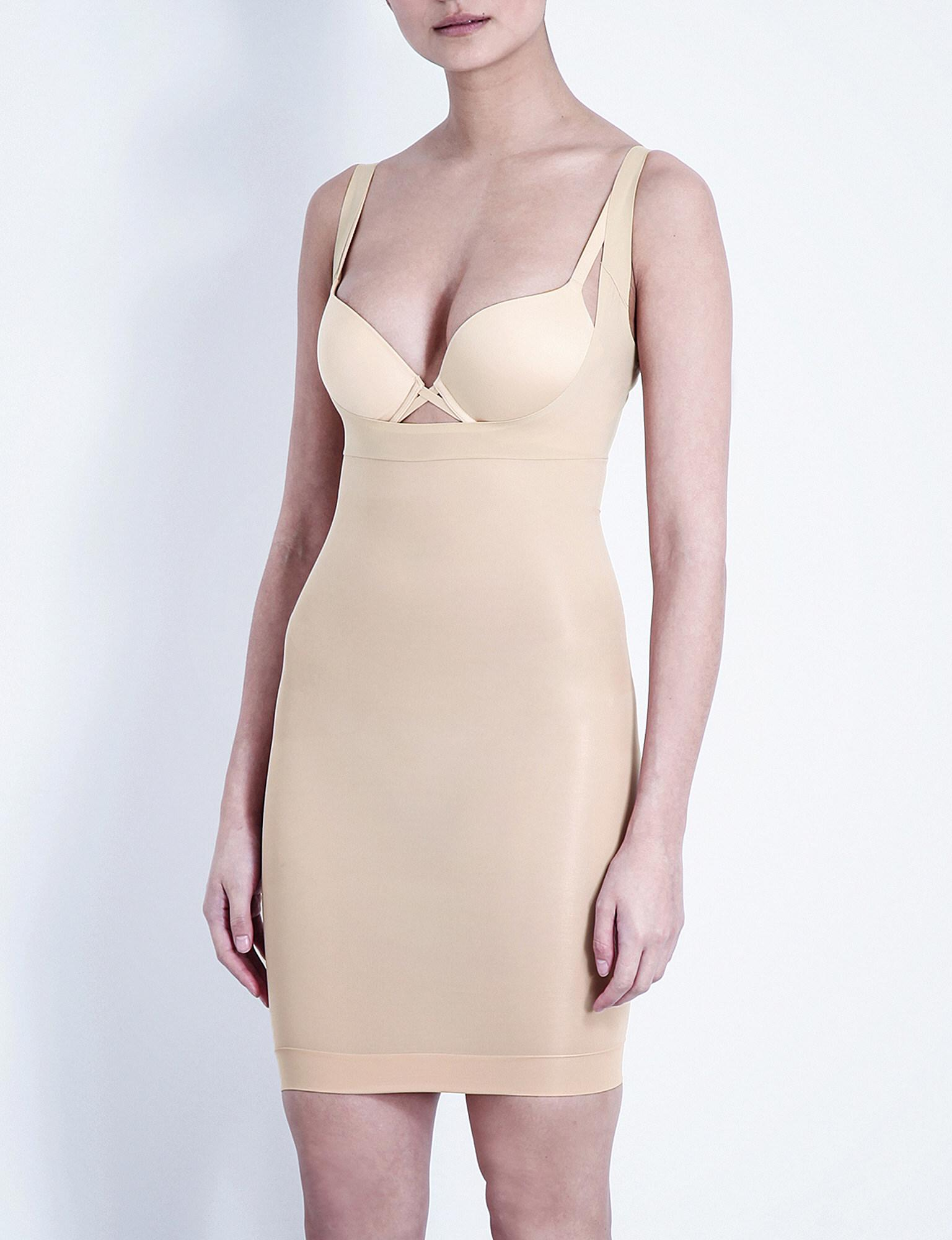 741457930246d Lyst - Spanx Shape My Day Open-bust Full Slip in Natural