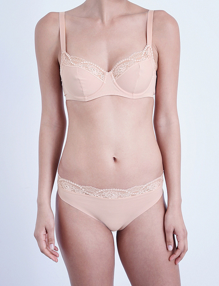 de287babf484c Lyst - Wolford Cotton Contour Lace Underwired Bra in Pink