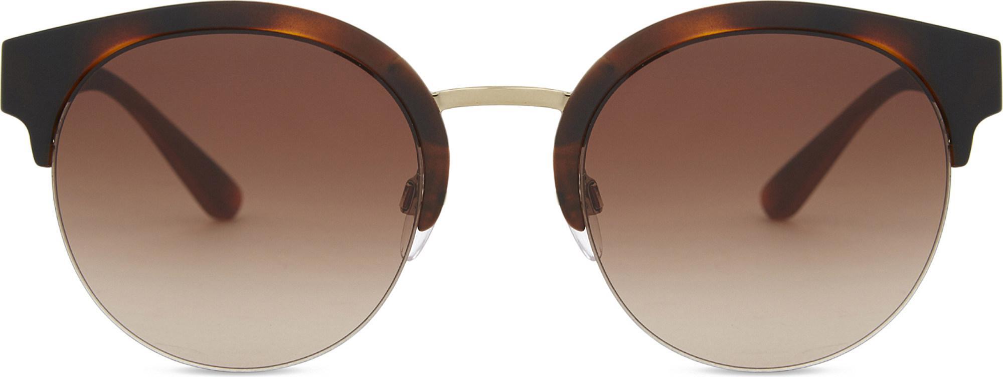 39e7623a242b9 Lyst - Burberry Be4241 Check Round Half-frame Sunglasses in Metallic