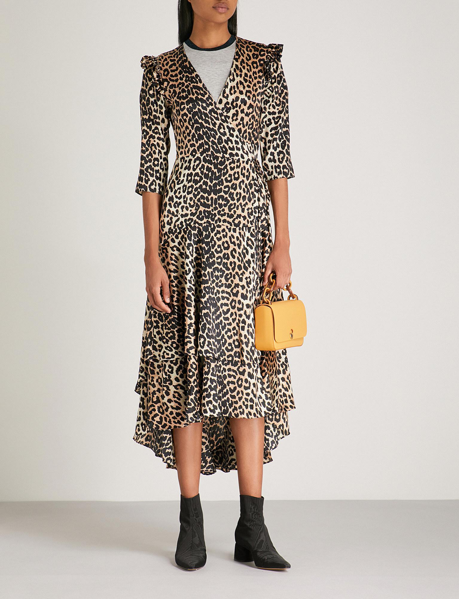 a7e45e26 Ganni Calla Leopard-print Stretch-silk Wrap Dress in Black - Lyst