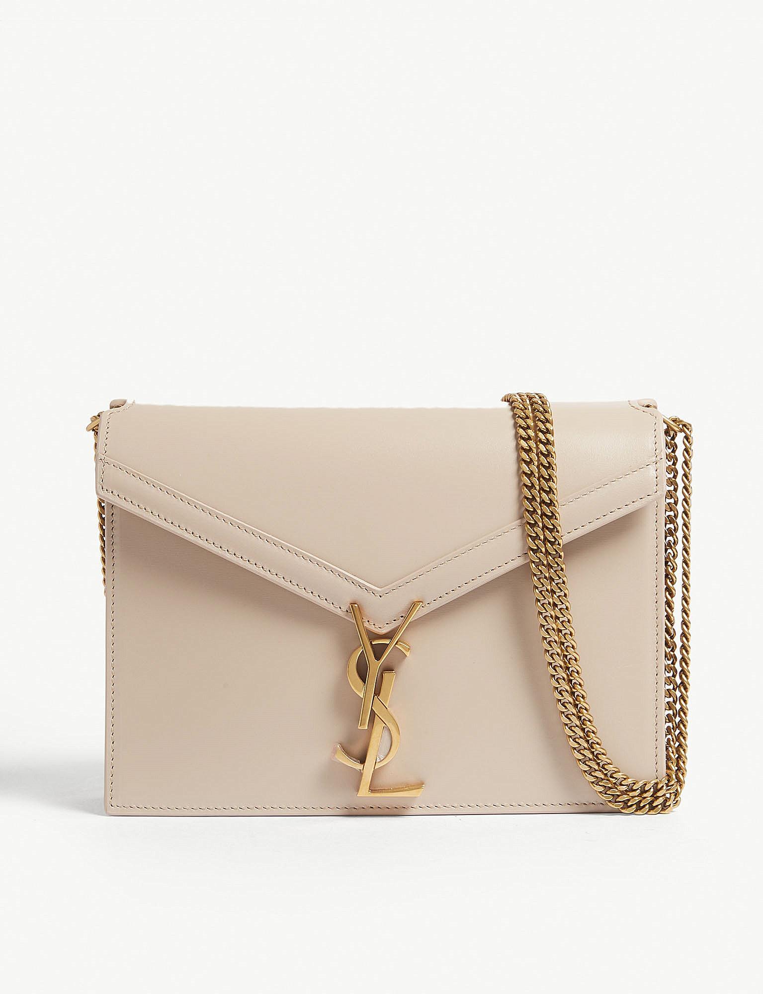 Lyst - Saint Laurent Cassandra Monogram Leather Shoulder Bag in Natural 44c6a55ff8541