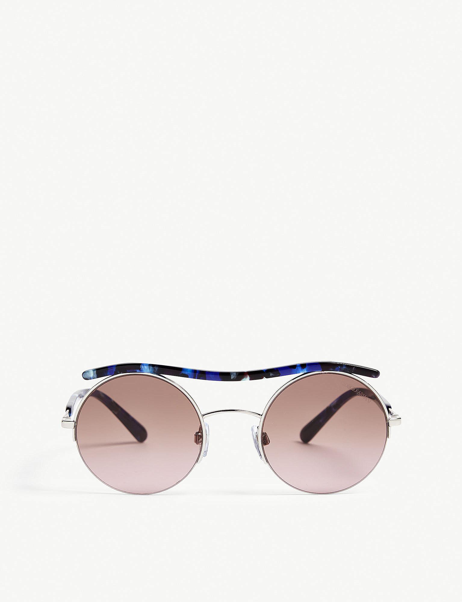 b0e0428f0e7 Lyst - Giorgio Armani Ar6082 Round Sunglasses in Metallic