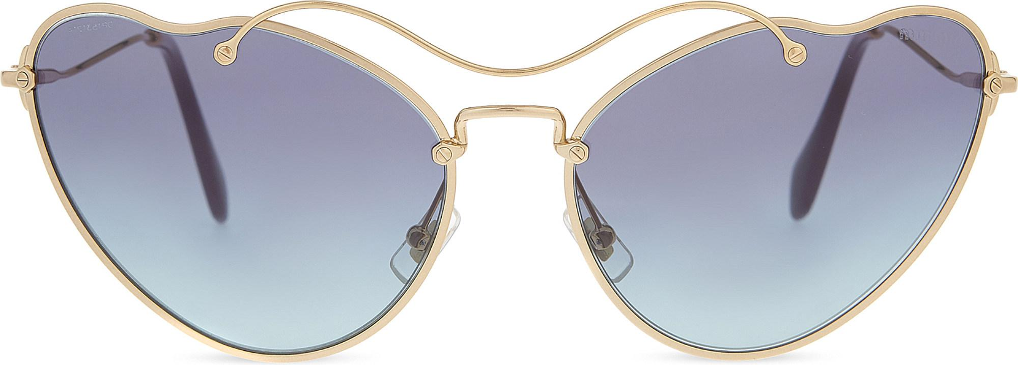7bf32dff68 Lyst - Miu Miu Mu55rs Scenique Cat Eye-frame Sunglasses in Metallic