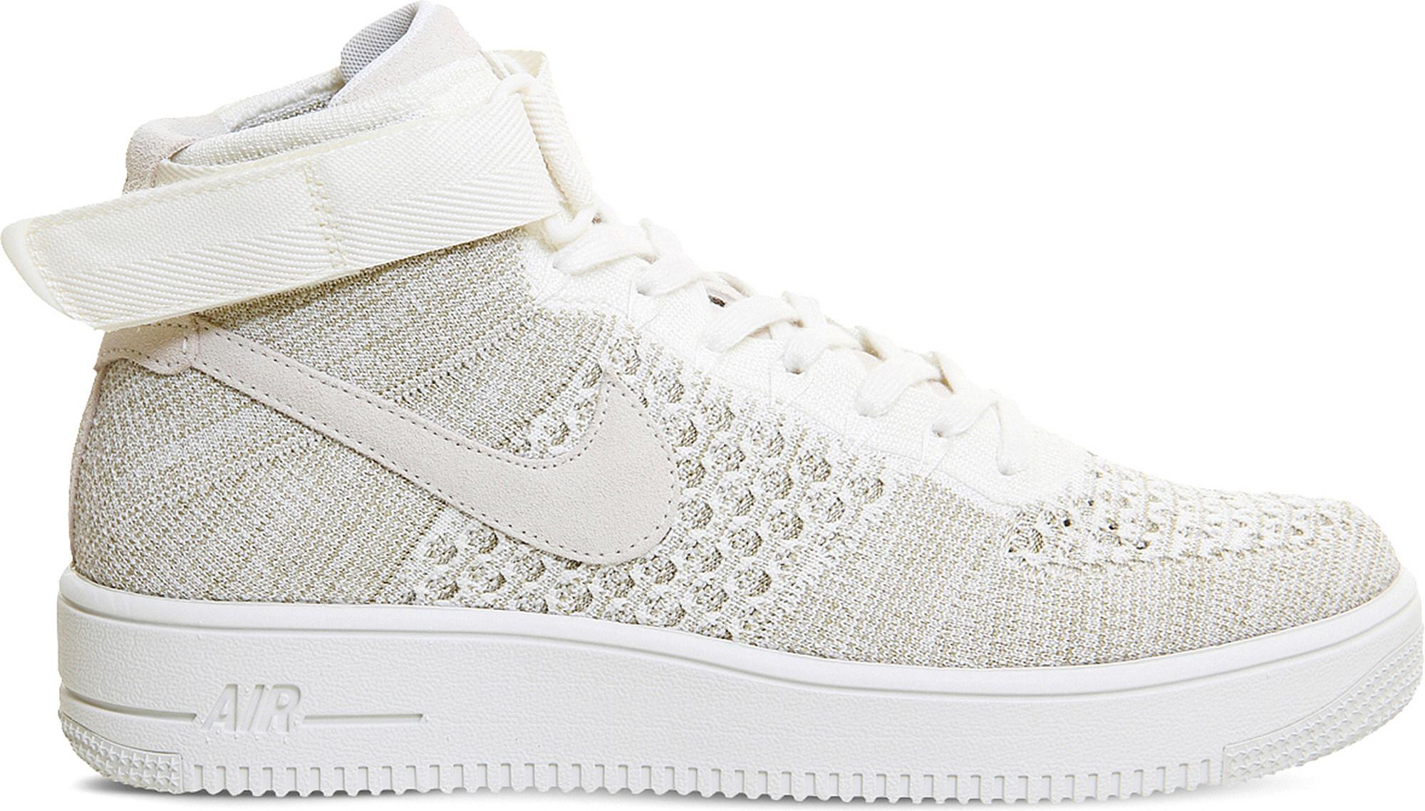 11ee518a7fbd Lyst - Nike Air Force 1 Flyknit Mid-top Trainers in White