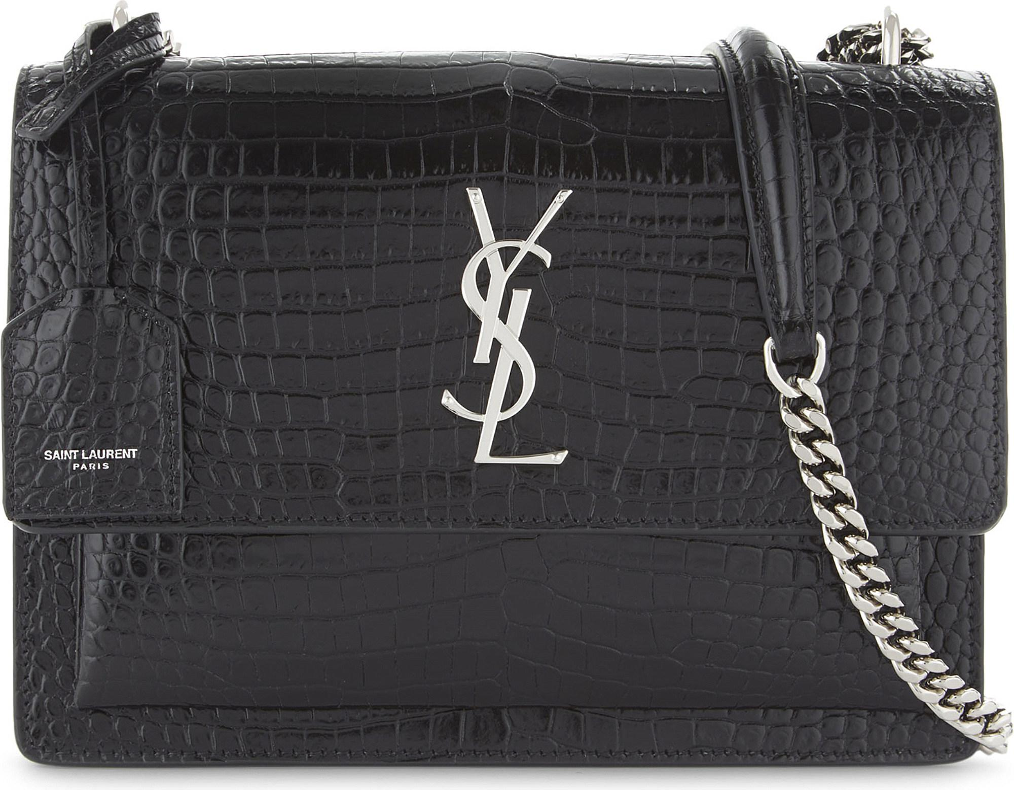 Black Croc Sunset Monogram Leather Shoulder Bag Saint Laurent Sneakernews Online uTG0QsV3C