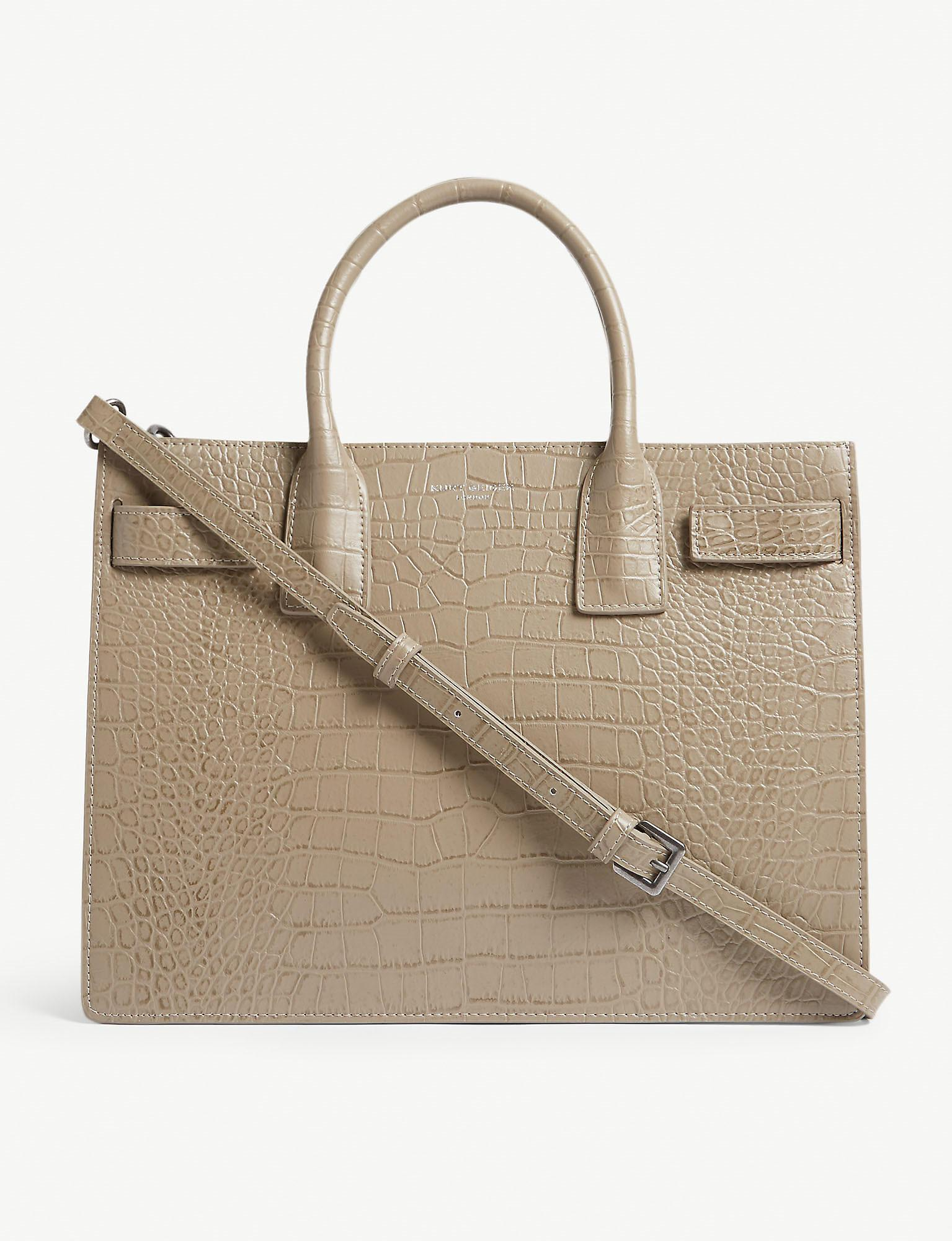 e0053efe9f5 Kurt Geiger Shoreditch Croc-embossed Leather Tote Bag in Natural - Lyst