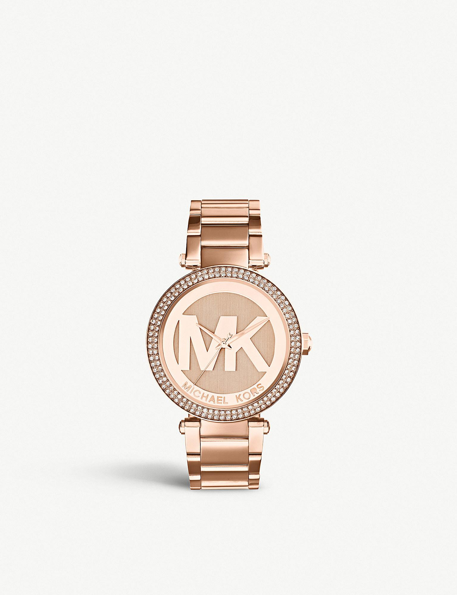 ffdfc8a1a9b6 Lyst - Michael Kors Mk5865 Parker Rose-gold Pvd Plated Stainless ...