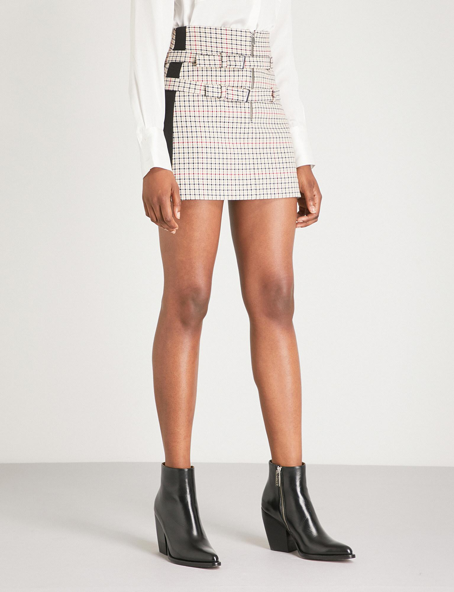 Ioldi Mini Checked Skirt Woven Lyst In Buckled White Maje w8kPnXNO0