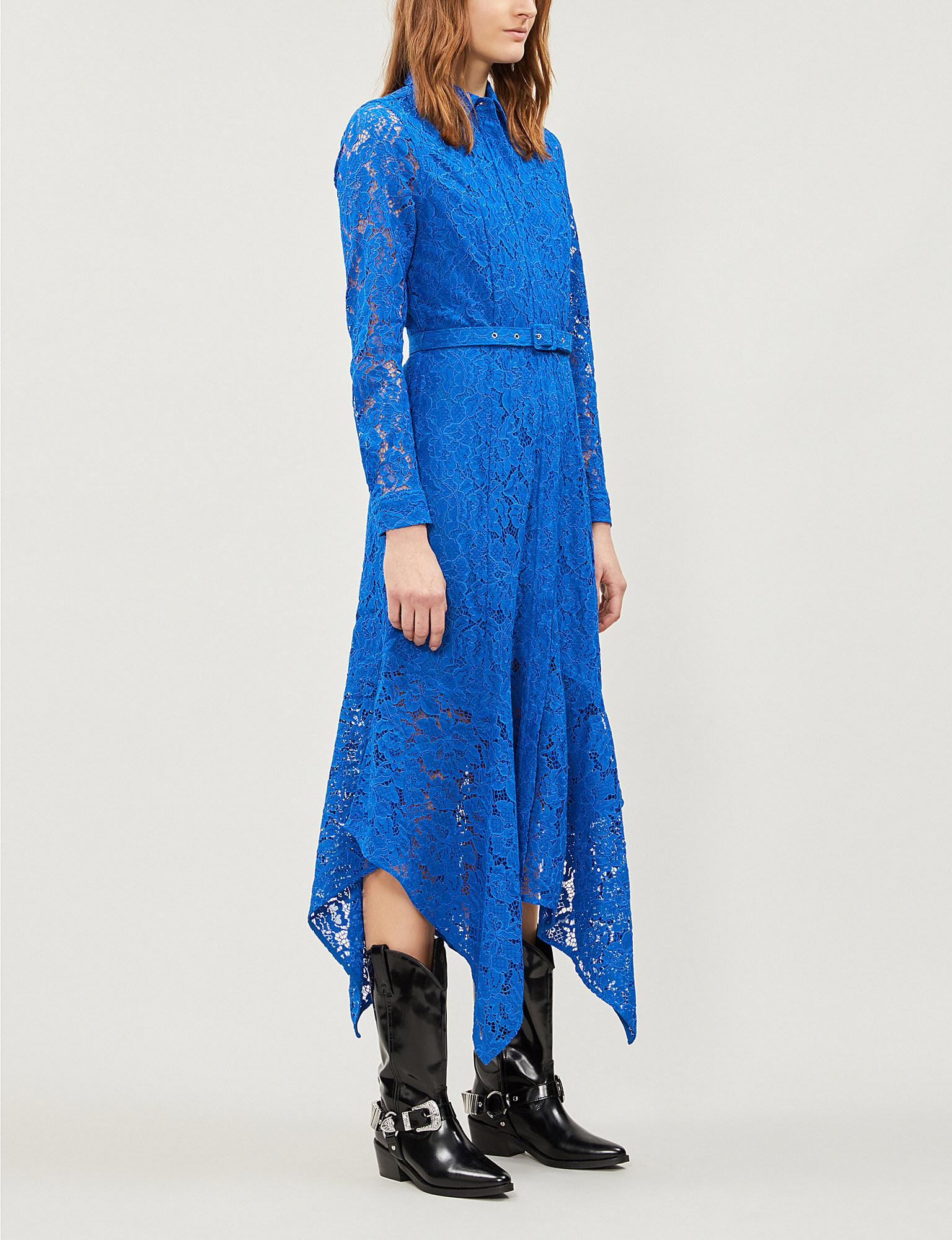 5aee4bc0 Ganni Everdale Lace Midi Dress in Blue - Save 17% - Lyst