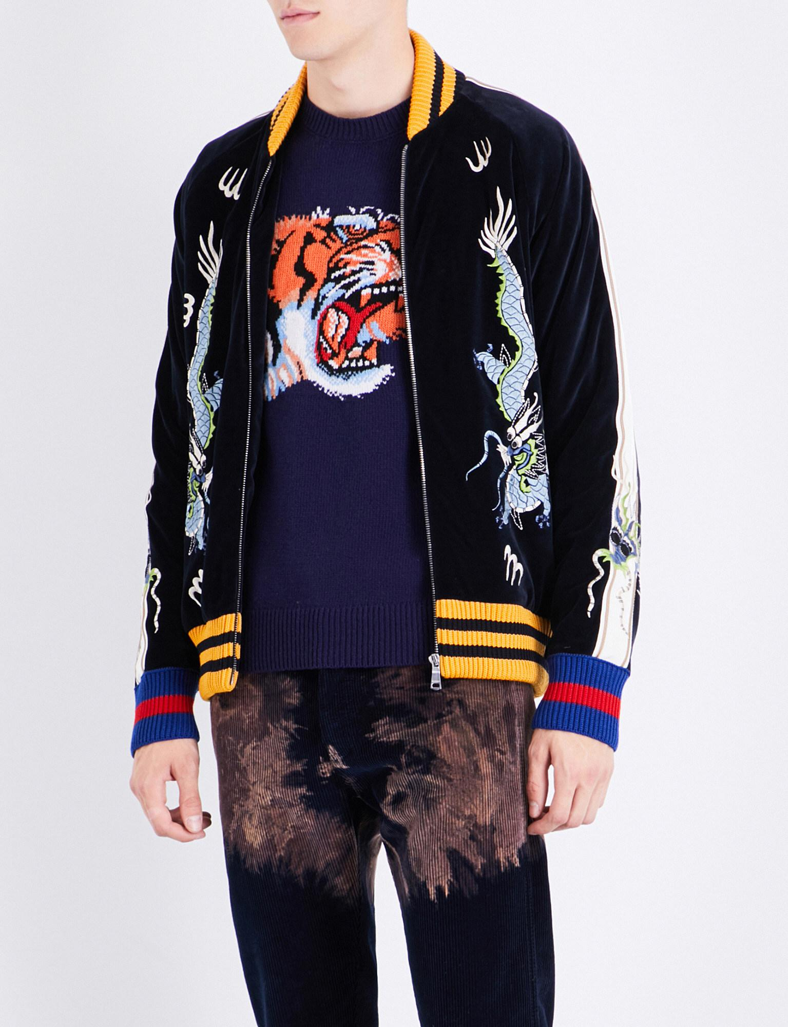 Cheap Cheap Gucci Black Oriental-Embroidered Velvet Bomber Jacket for Men On Sale Online Sale