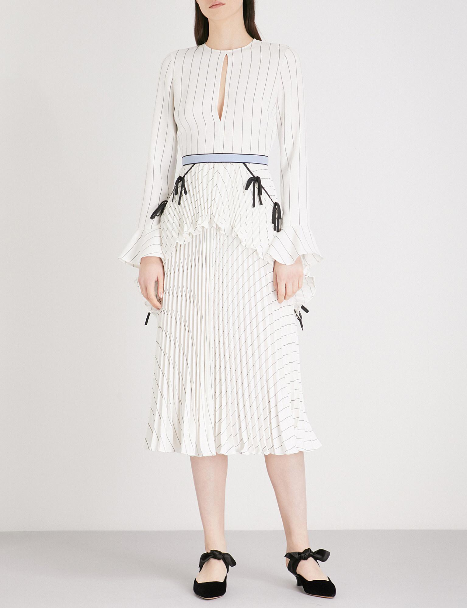 c7e0a99a645 Self-Portrait Pleated Monochrome Stripe Crepe Midi Dress in White - Lyst