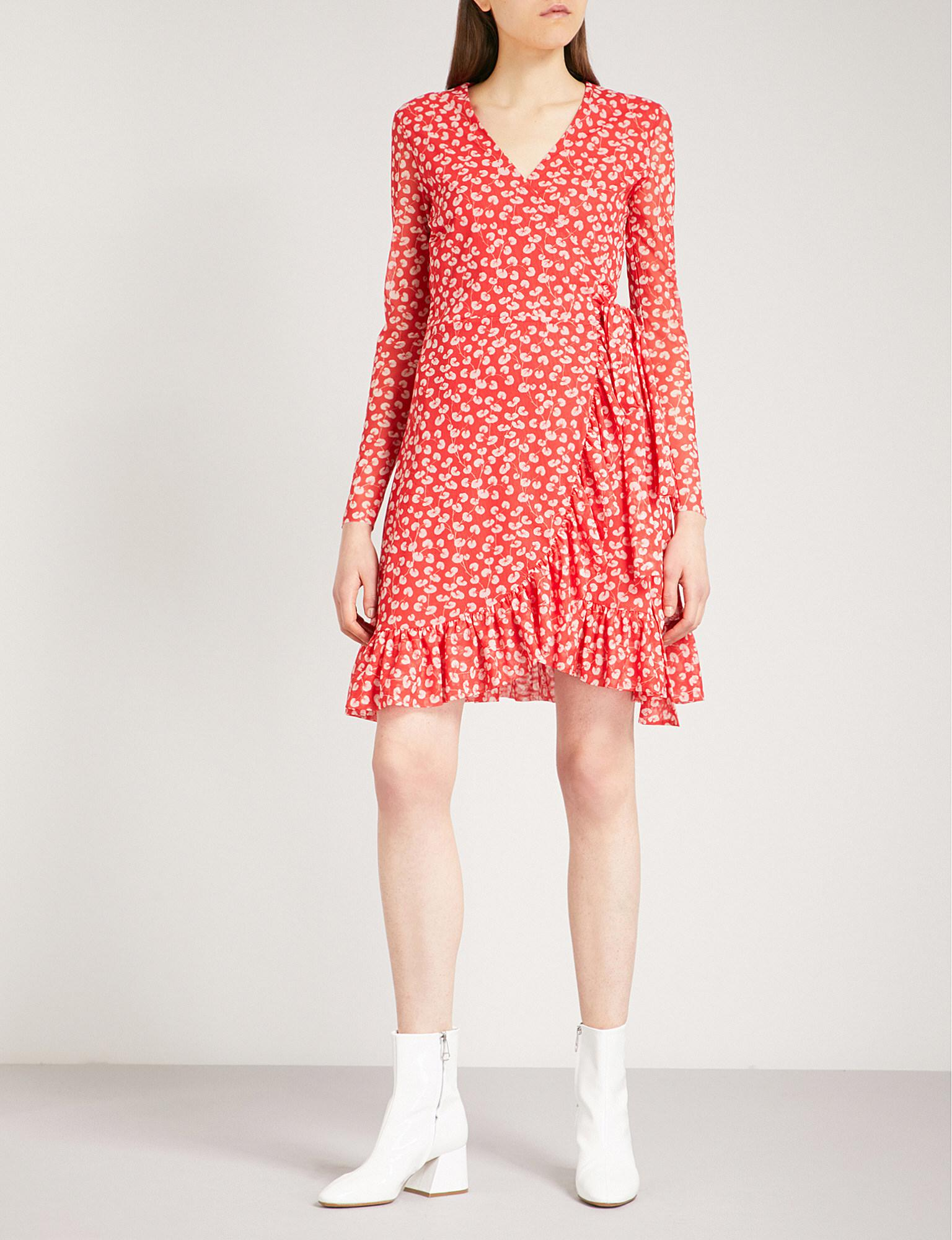 4c71ef9dc0 Ganni Tilden Mesh Wrap Dress in Red - Lyst