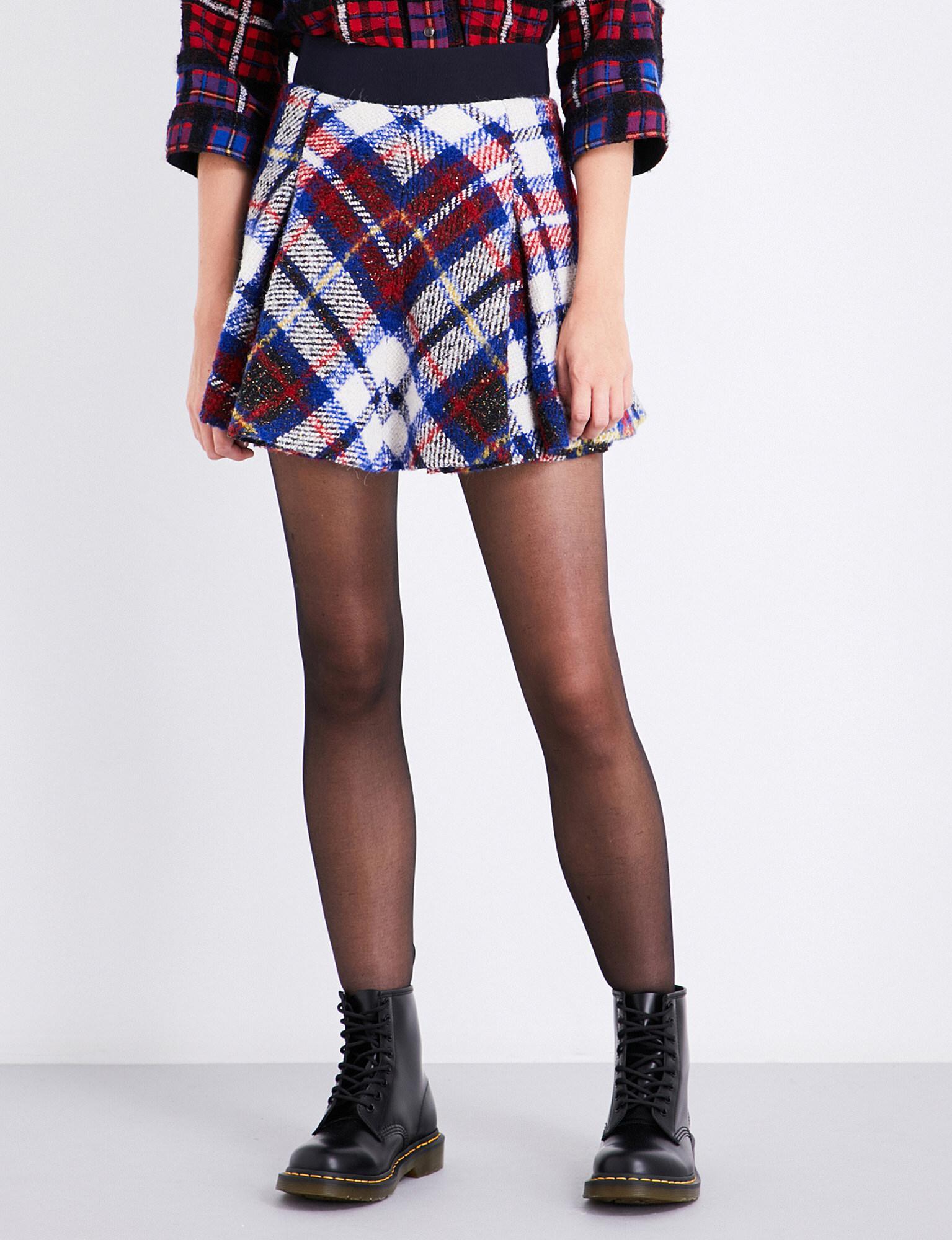 a0a7a774f9 Tommy Hilfiger Tartan Pleated Wool-blend Mini Skirt in Blue - Lyst
