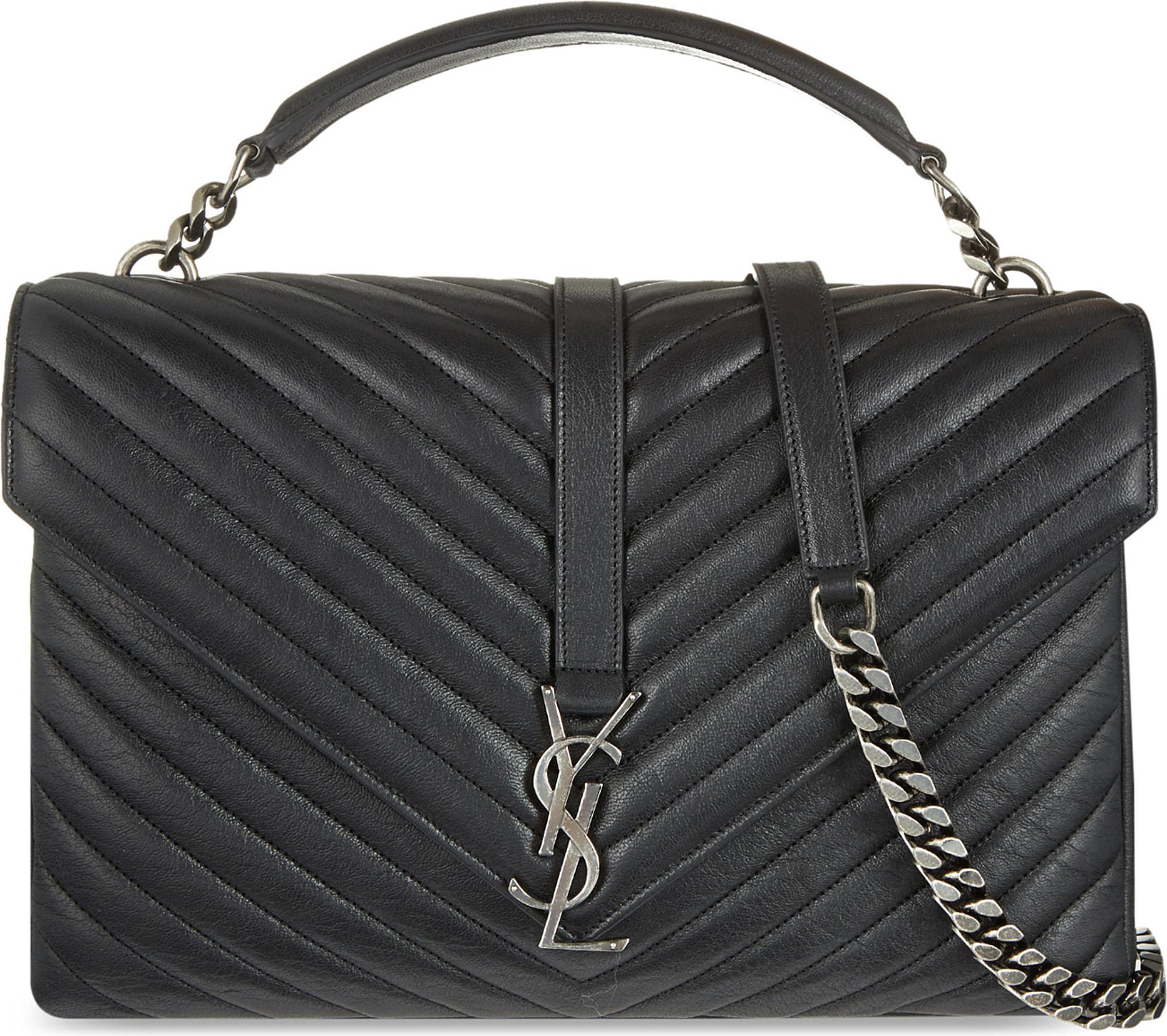 e3110d3b831d Saint Laurent. Women s Black Monogram College Quilted Leather Shoulder Bag