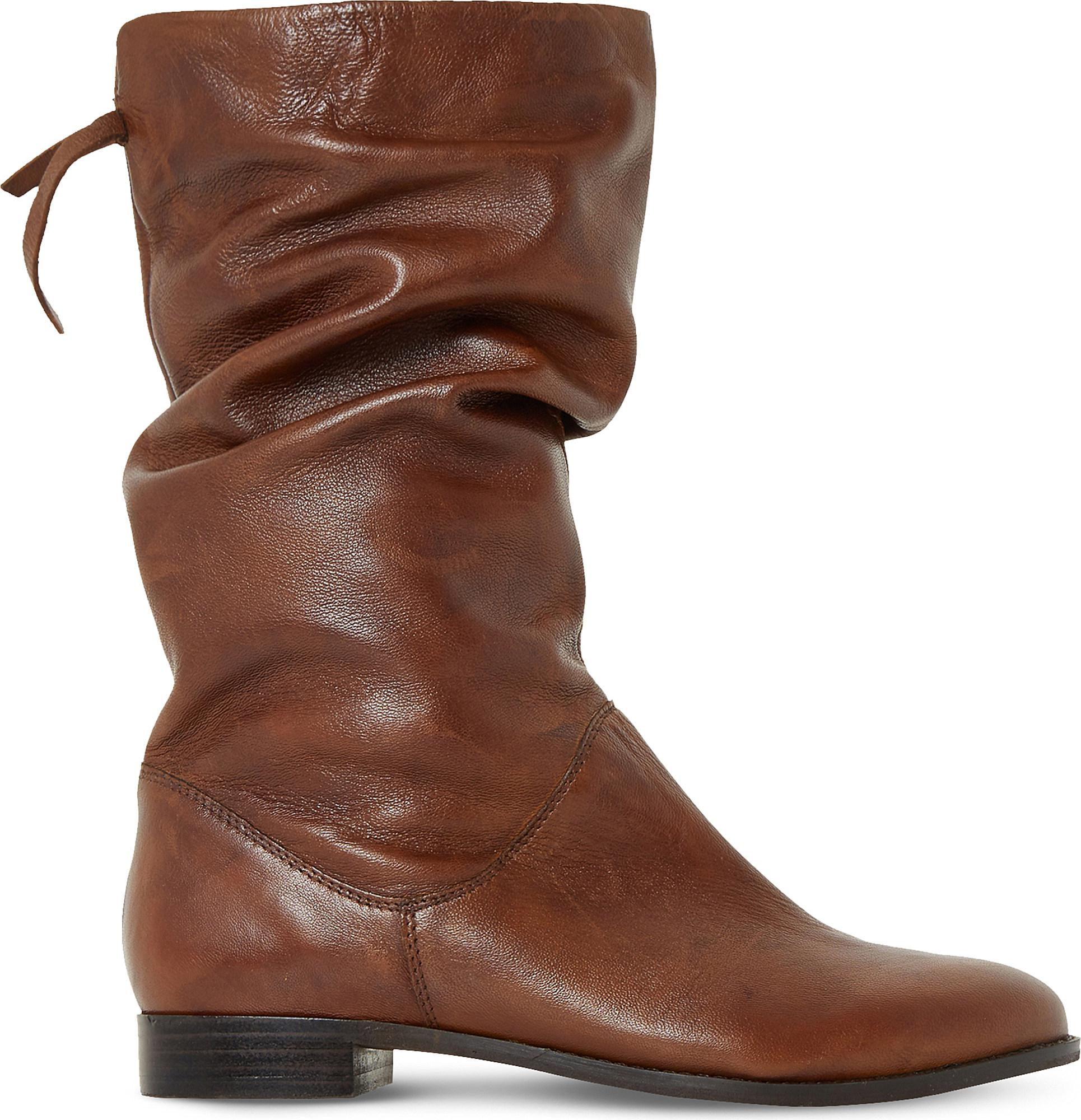 Dune  Women's Brown Rosalind Slouchy Leather Boots