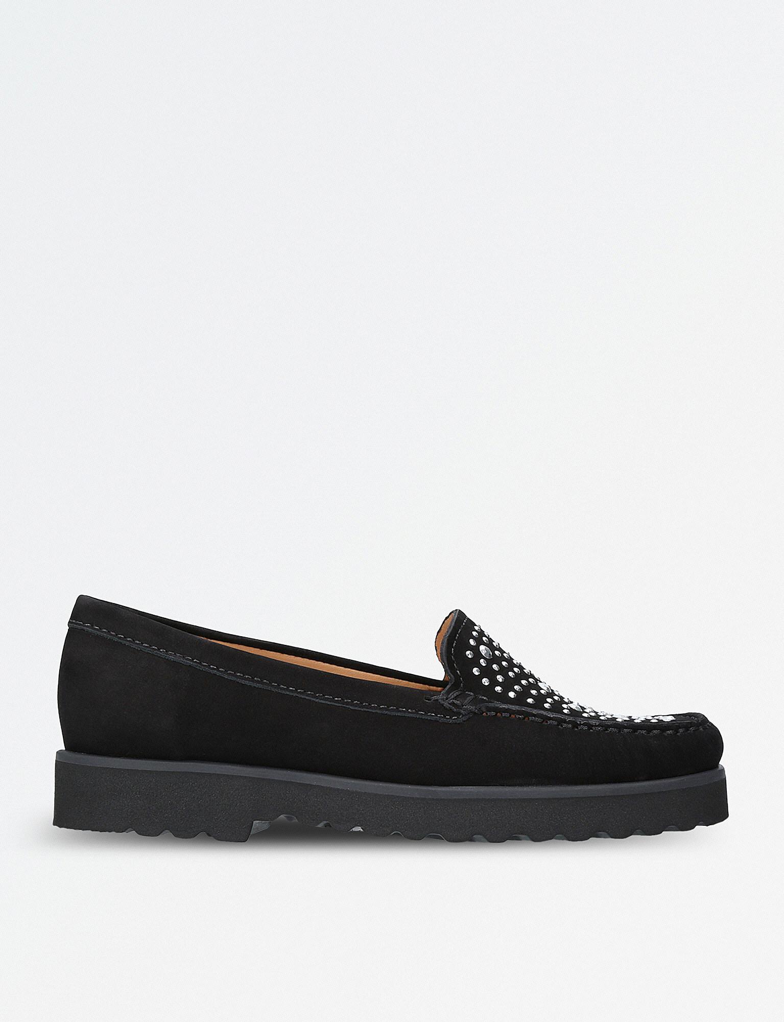 d06a0d367ad Carvela Kurt Geiger Camille Embellished Suede Loafers in Black - Lyst