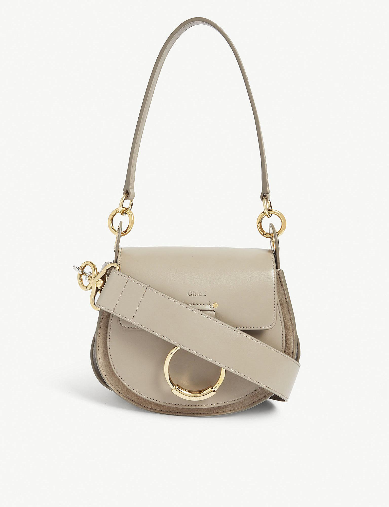 926c7d7afc85 Chloé Tess Leather And Suede Cross-body Bag in Gray - Lyst