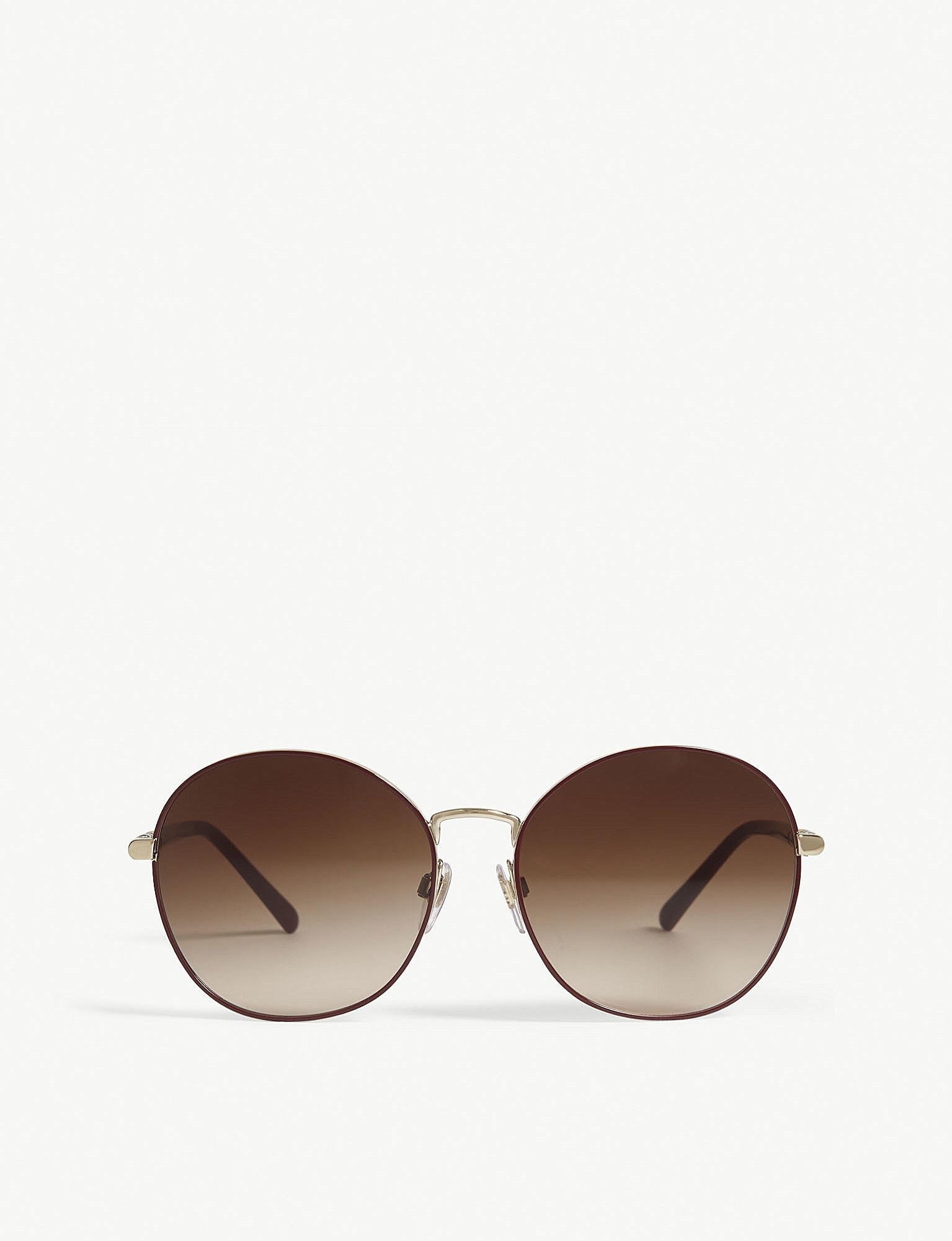 81dfe83c3f2 Burberry Be3094 Round-frame Sunglasses in Metallic - Lyst