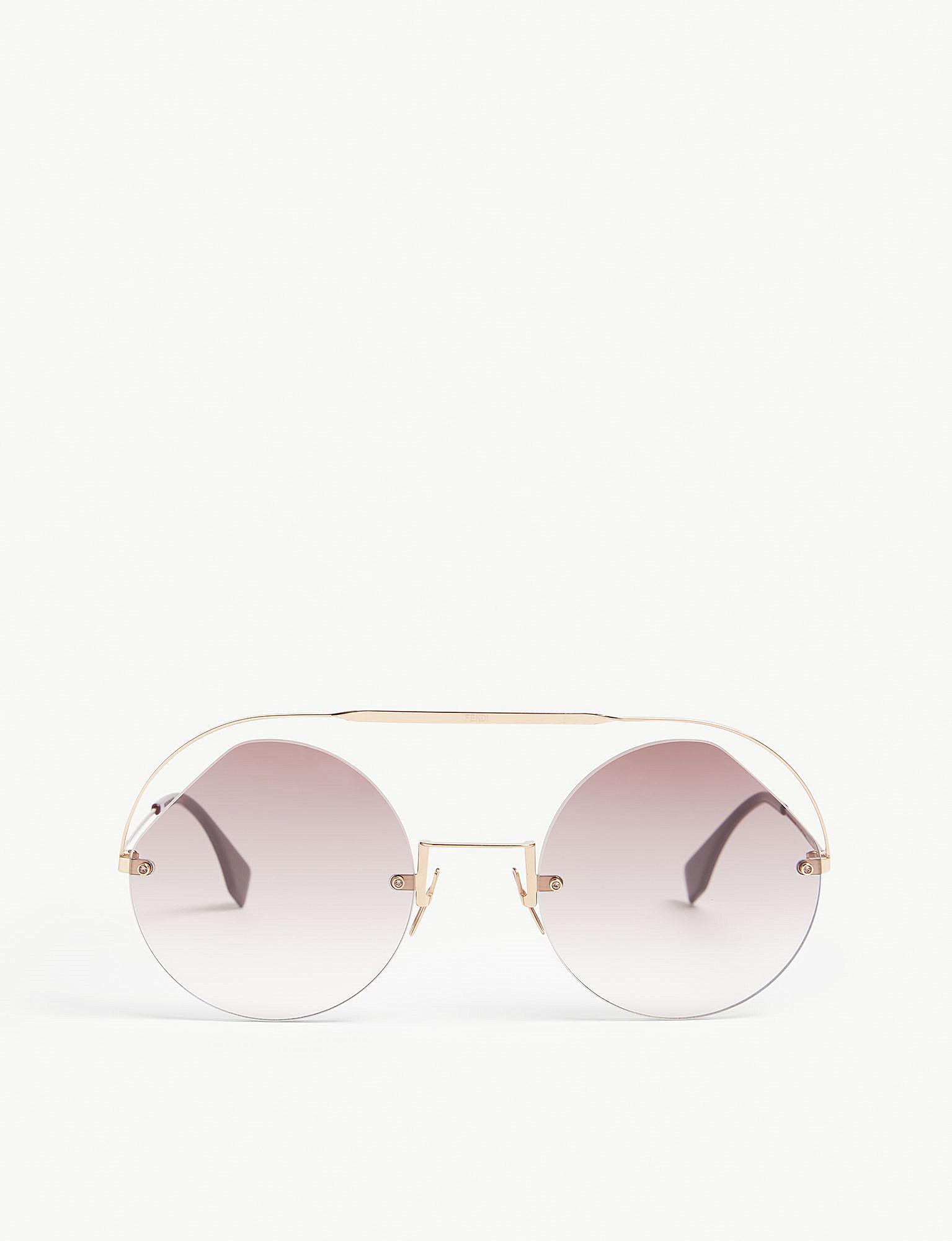 b5b02b9bc2 Lyst - Fendi Ff0325 s Round-frame Sunglasses in Metallic
