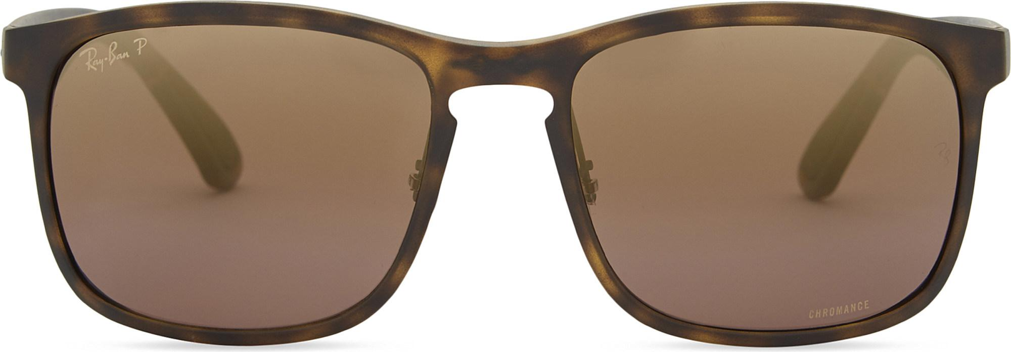 186ef795fad Ray-Ban Rb4264 Chromance® Havana Square-frame Sunglasses in Brown - Lyst