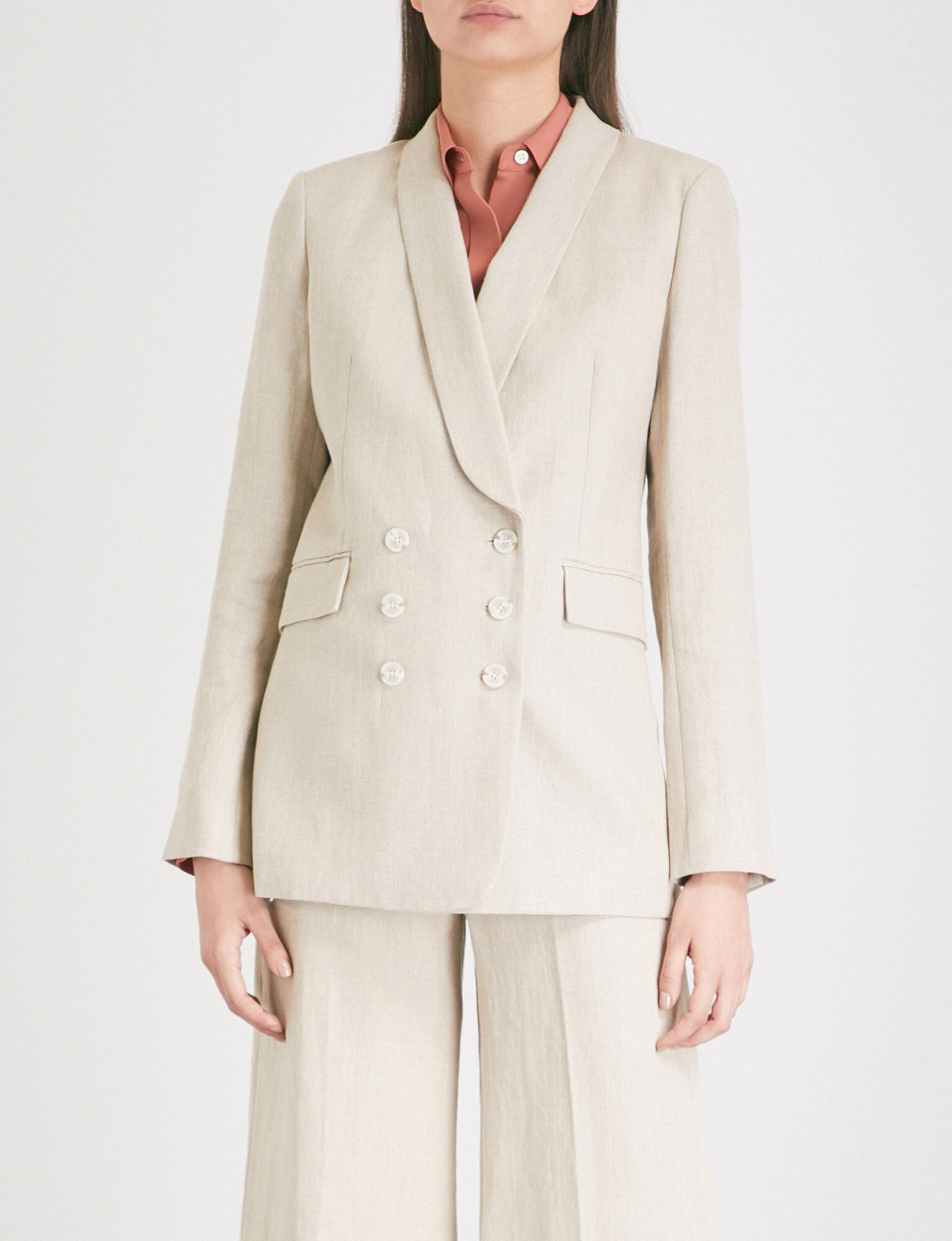 499abbf8d8e Theory Double-breasted Linen Blazer in Natural - Lyst