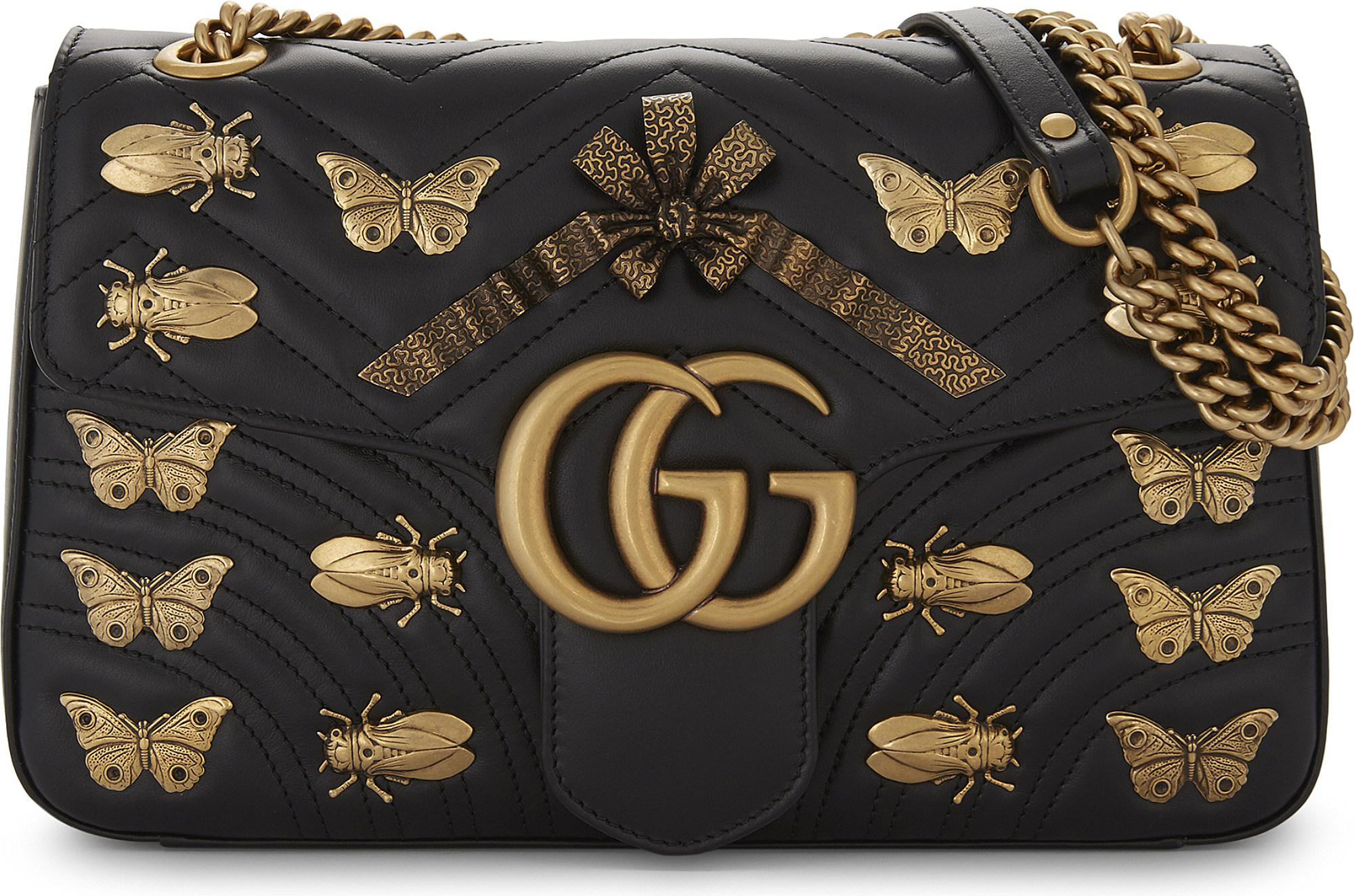 75258390c5a493 Gucci Gg Marmont Animal Stud Cross-body Bag in Black - Lyst