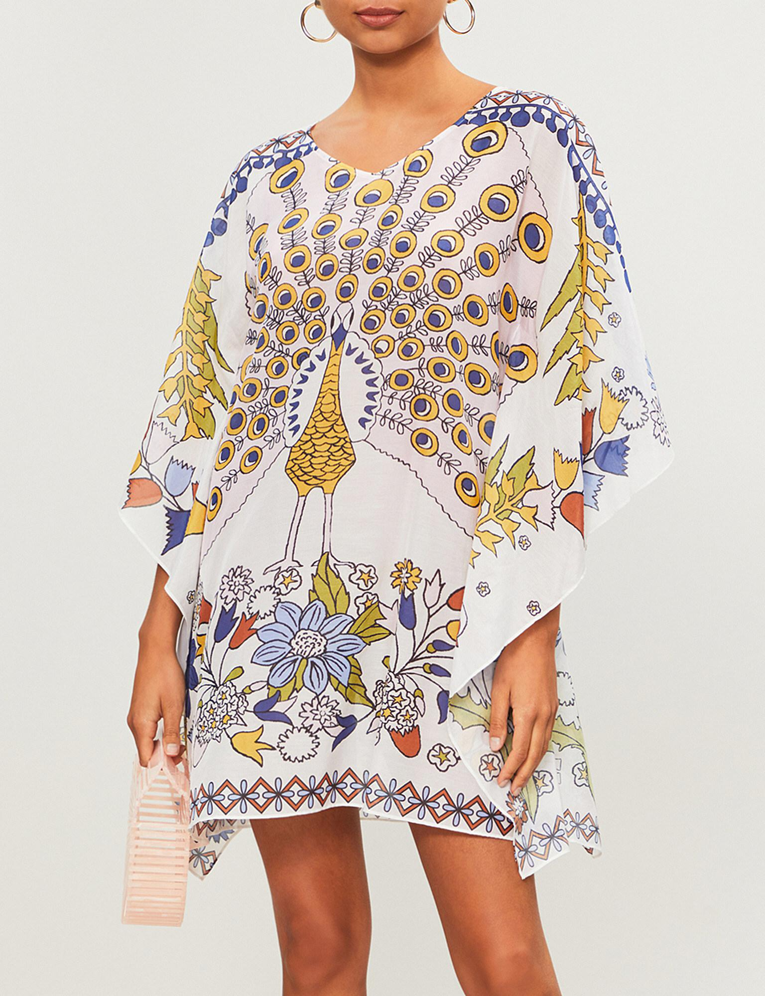 57444ab3c702 Lyst - Tory Burch Meadow Folly Cotton And Silk-blend Kaftan in White