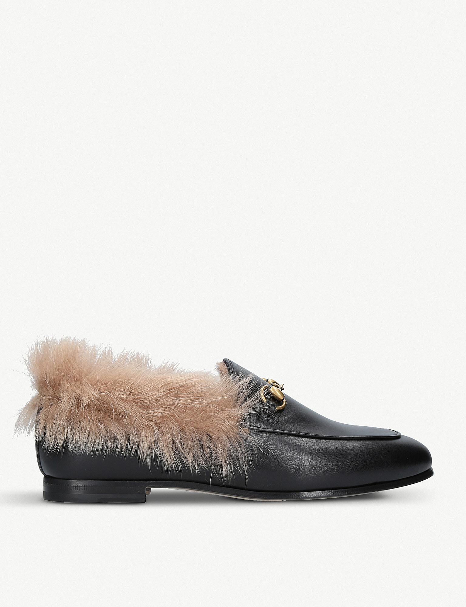 7def54103 Gucci Jordaan Leather And Shearling Loafers in Black - Lyst