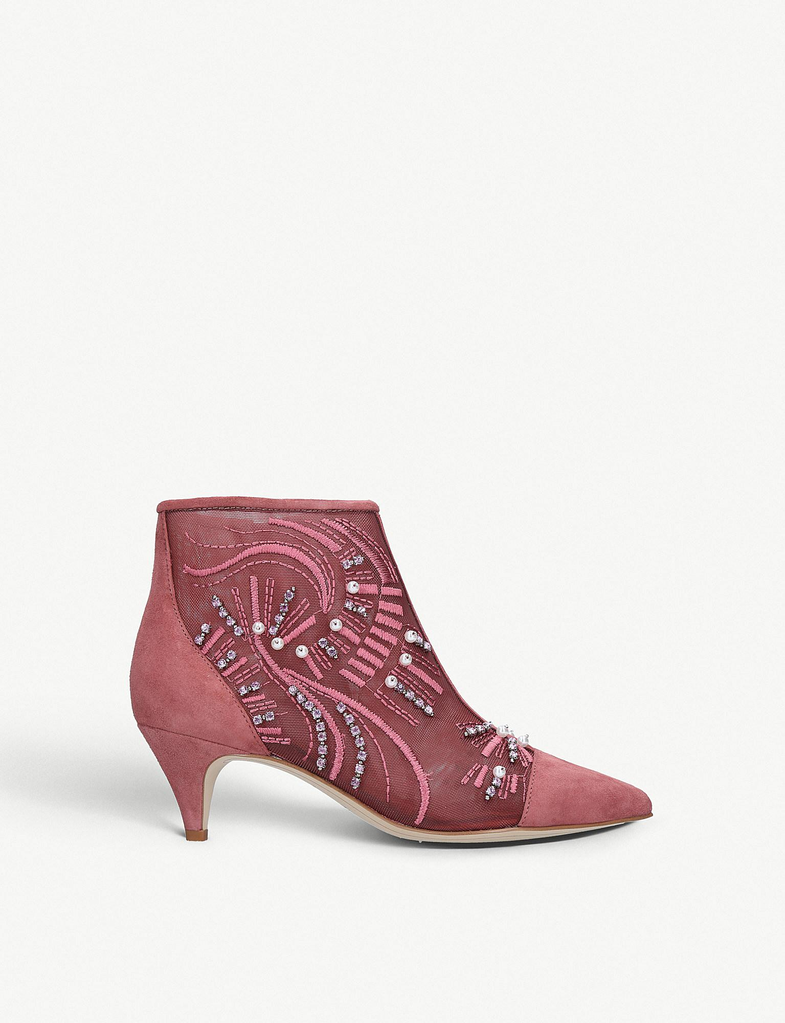 501a4afb4b4d37 Lyst - Sam Edelman Embellished-ankle Boots in Pink