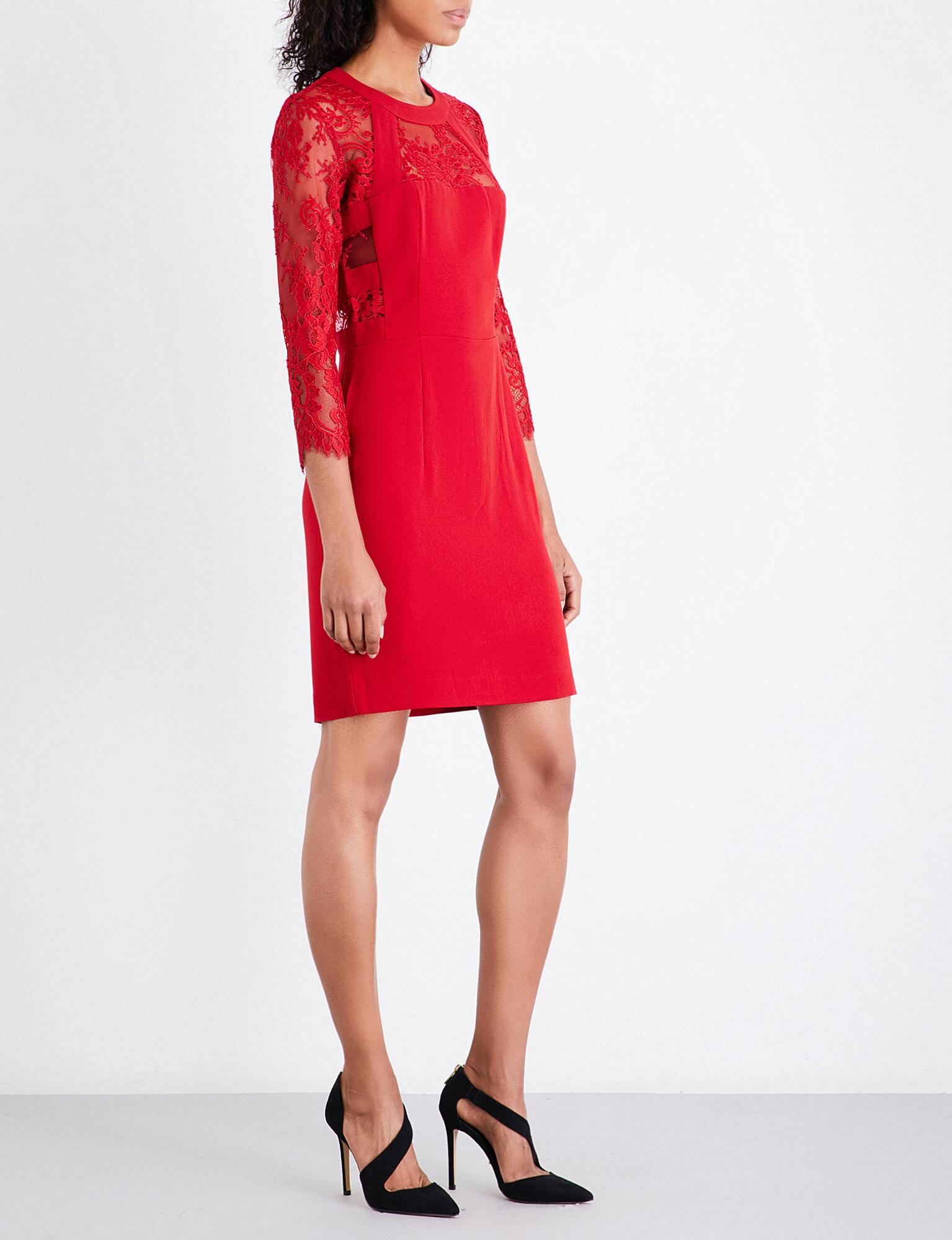 83462f8970a The Kooples Floral-lace Crepe Dress in Red - Lyst