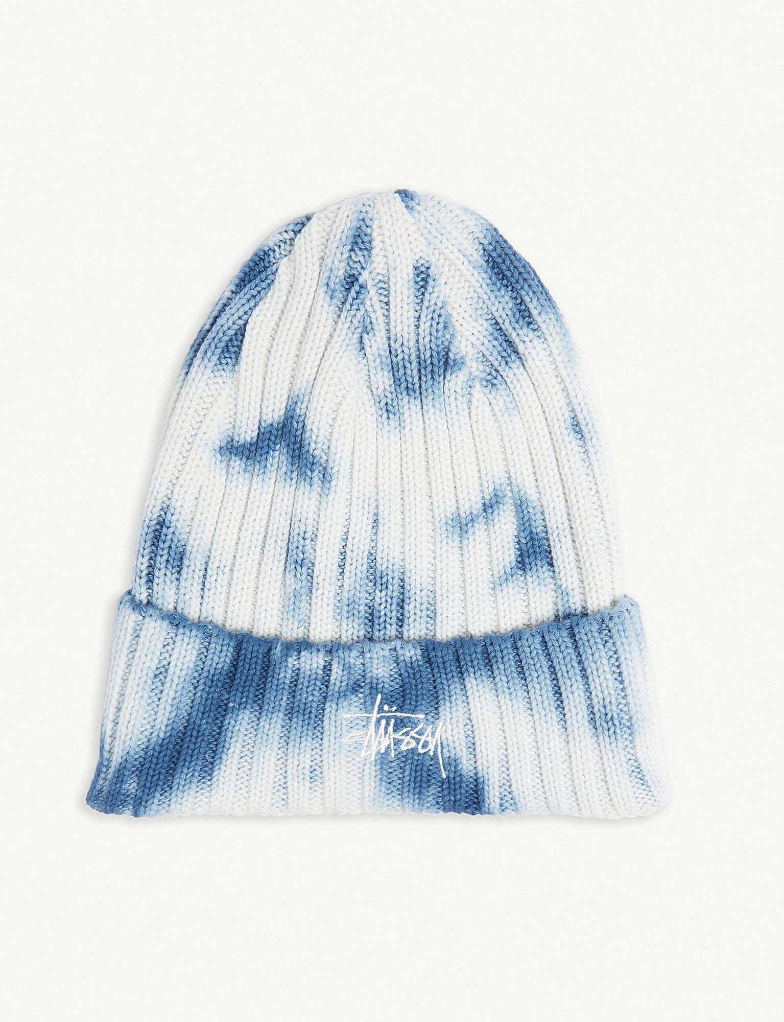 5353ead2037 Lyst - Stussy Tie-dye Cotton-knit Beanie in Blue for Men