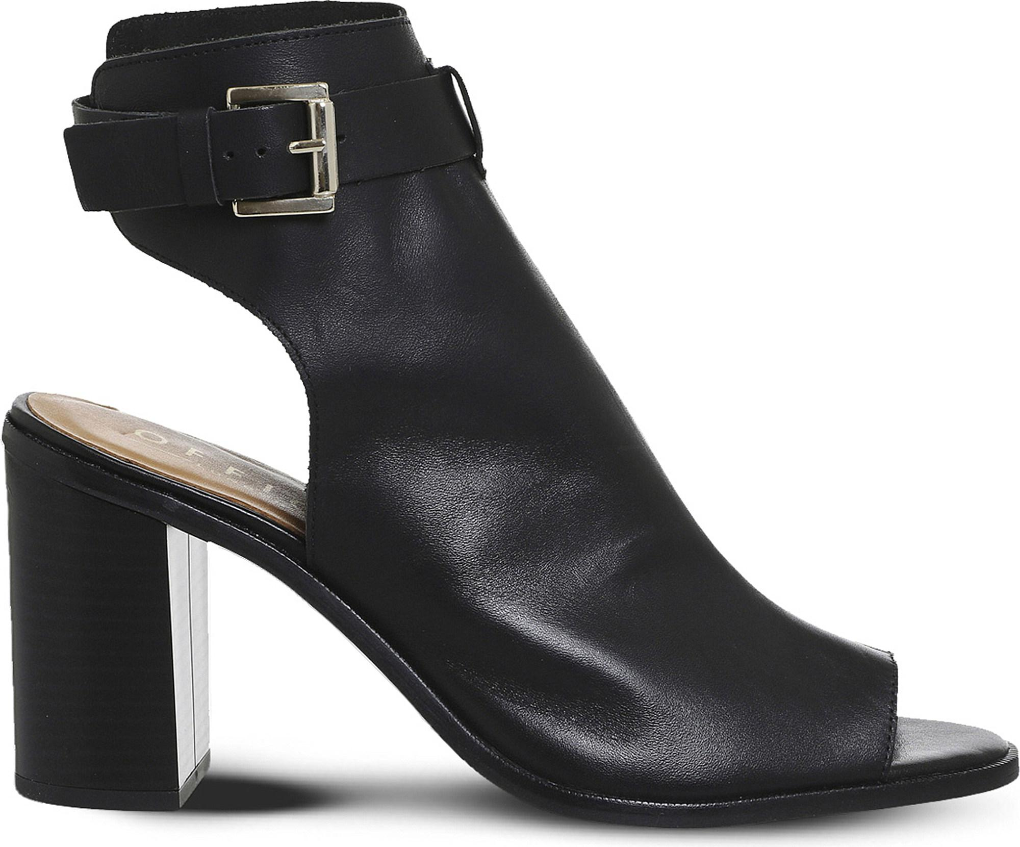 Black leather OFFICE Adele cutout leather ankle boots
