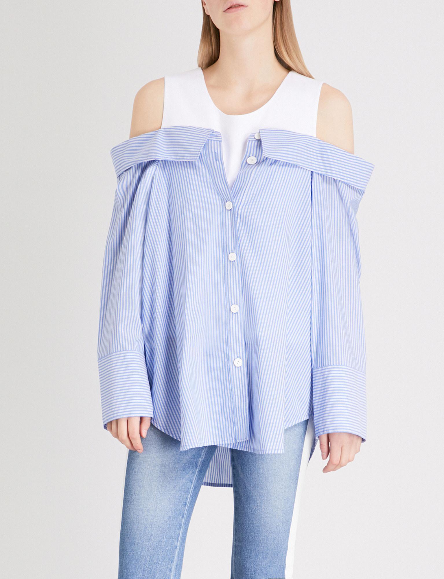 d1d74810c20 Lyst - SJYP Striped Cold-shoulder Cotton Shirt in Blue