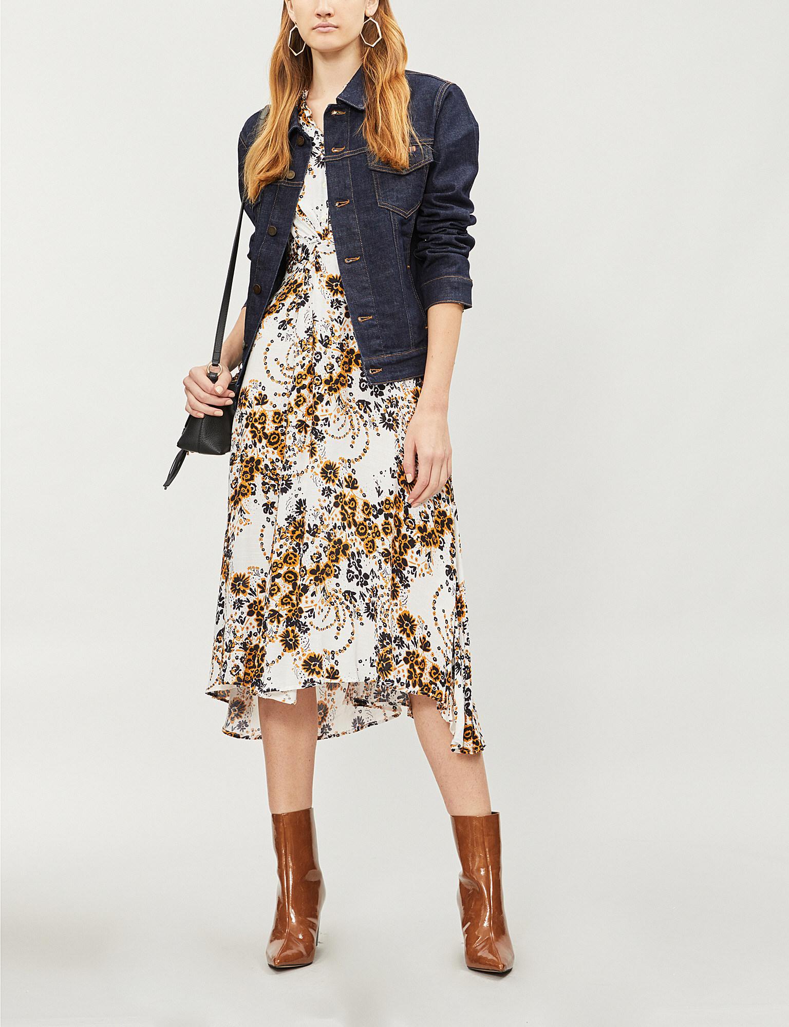 e0899fd87111 Free People. Women s White Tough Love Floral-pattern Crepe Shirt Dress