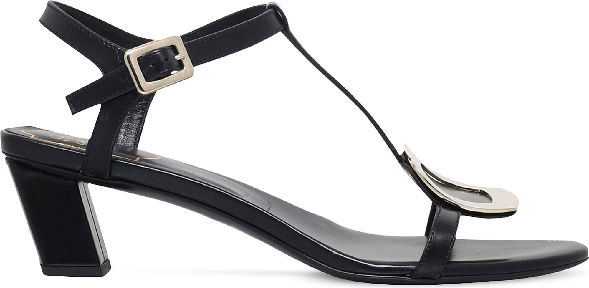 9dafd1f2389 Lyst - Roger Vivier Chips Leather T-strap Sandal in Black - Save 50%