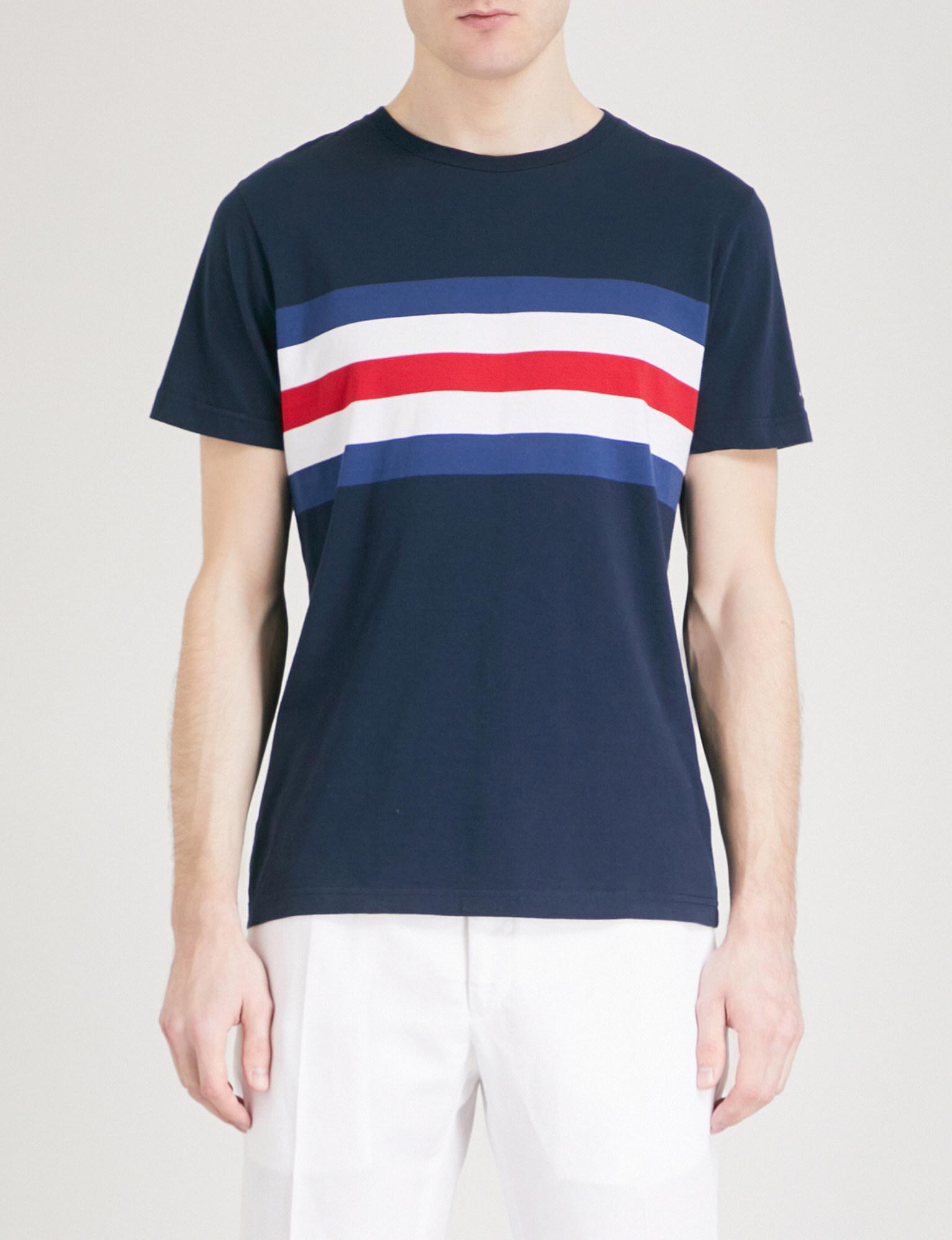 ea2a2dc8 Lyst - Tommy Hilfiger Striped-panel Cotton-jersey T-shirt in Blue ...