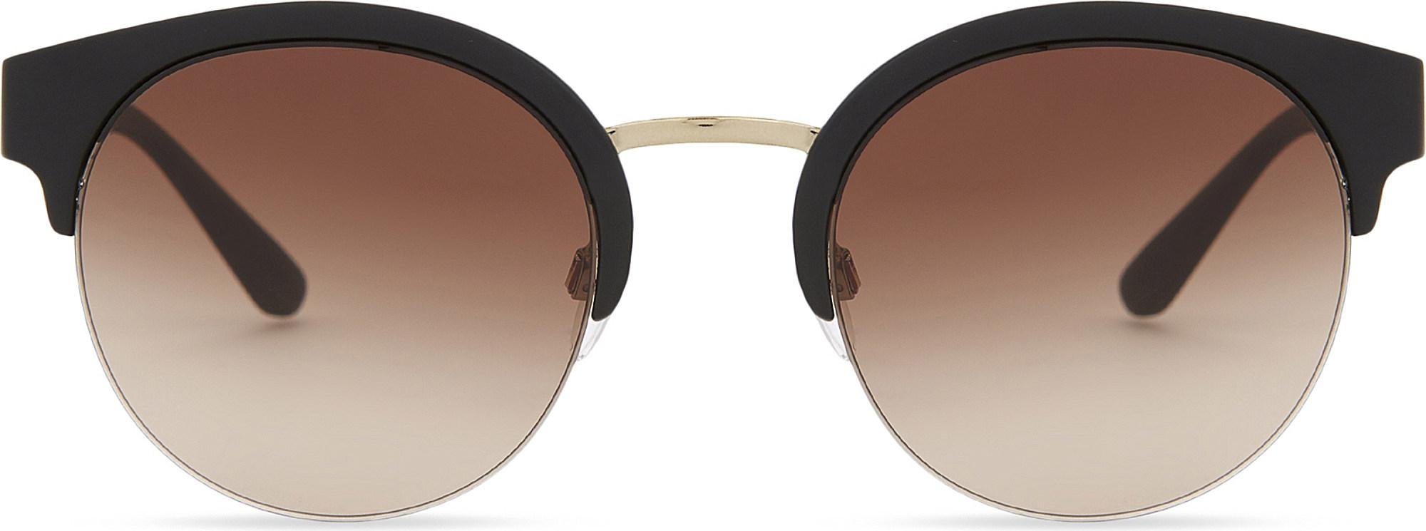 ccd249cf8a6 Burberry. Women s Metallic Be4241 Check-detail Round Half-frame Sunglasses