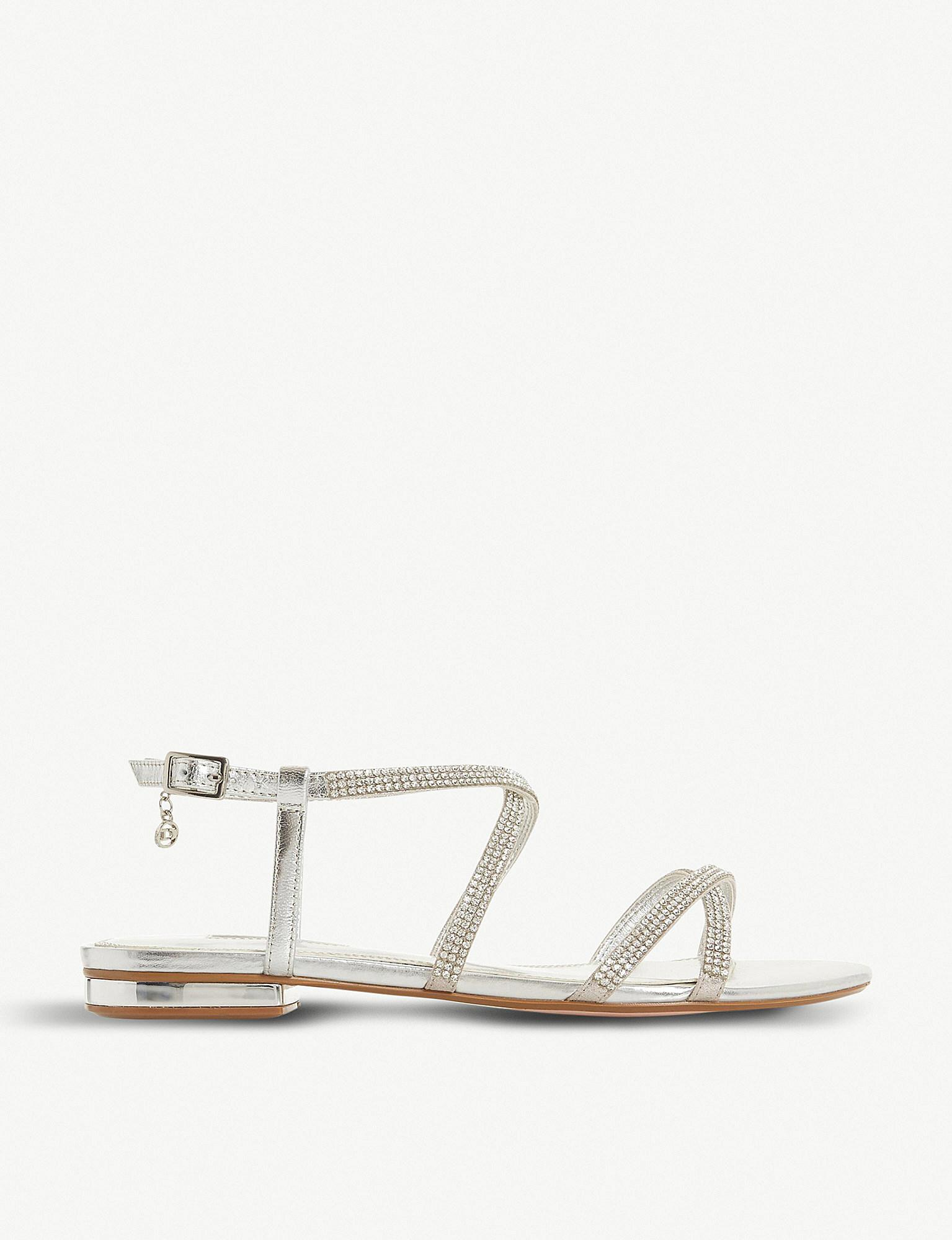 f976c16261c2 Dune Neve Cross-strap Embellished Metallic-leather Sandals in ...