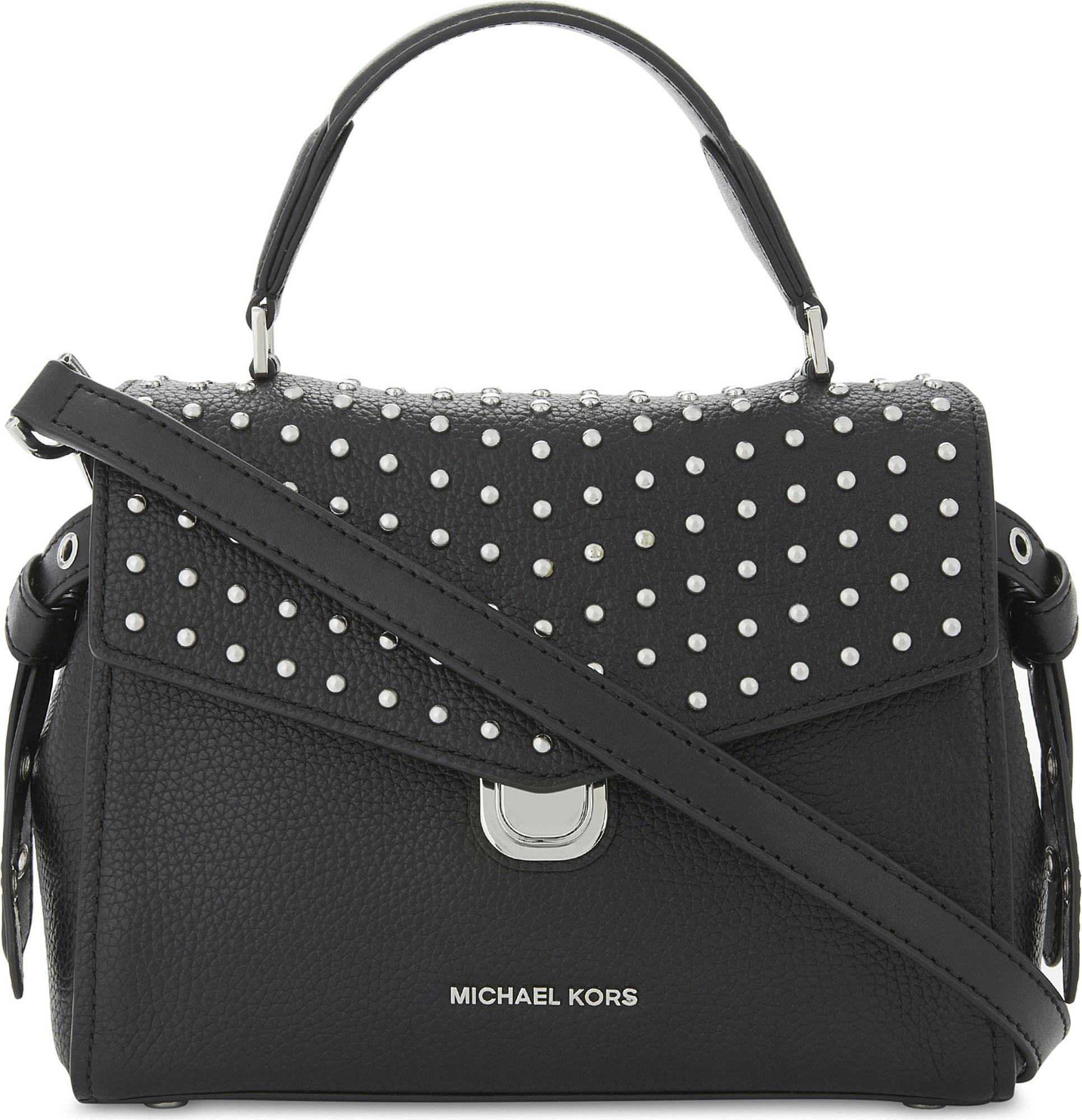 6da8ce5888bb MICHAEL Michael Kors Bristol Studded Leather Satchel Bag in Black - Lyst