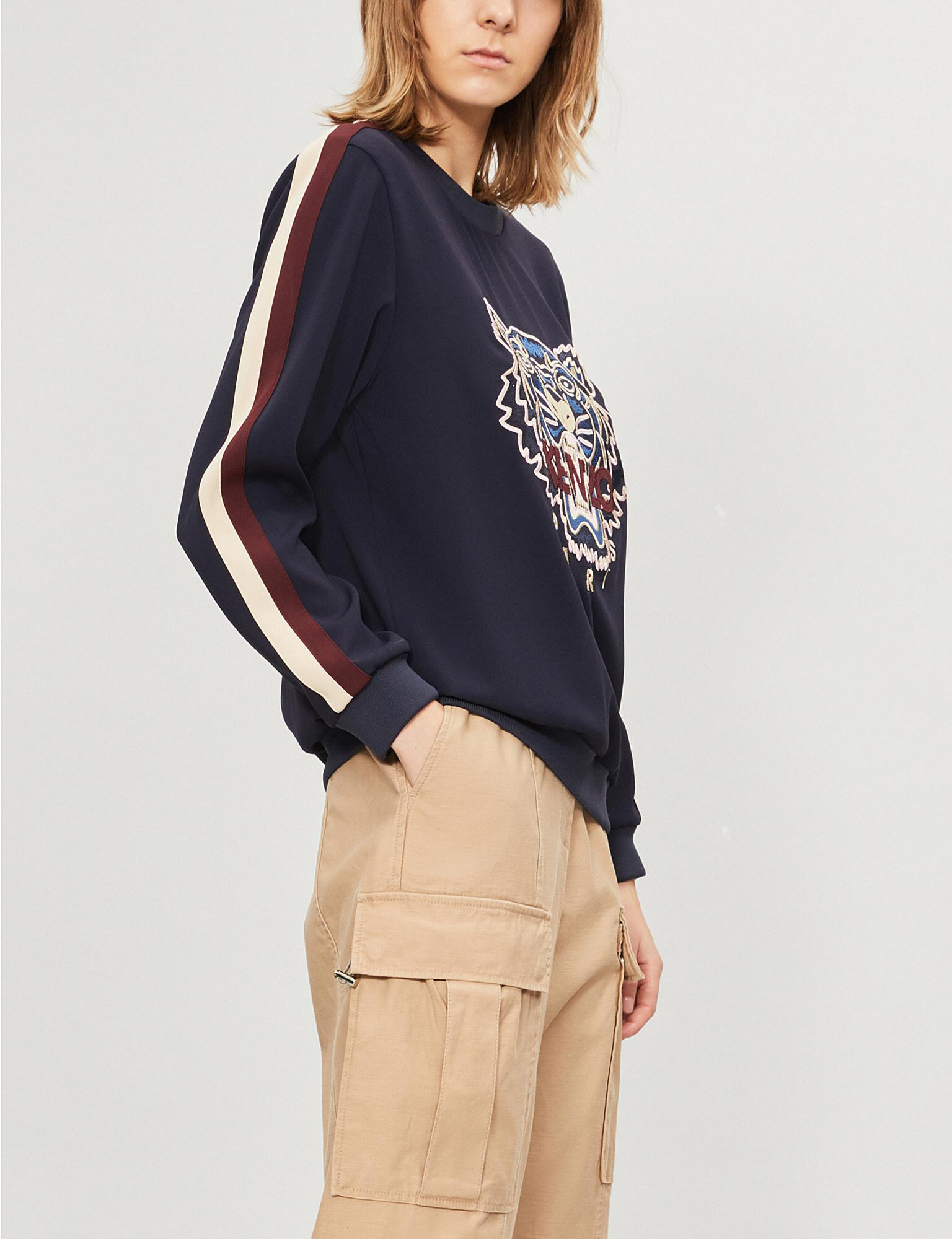2680c1ef6 Lyst - KENZO Tiger-embroidered Crepe Sweatshirt in Blue