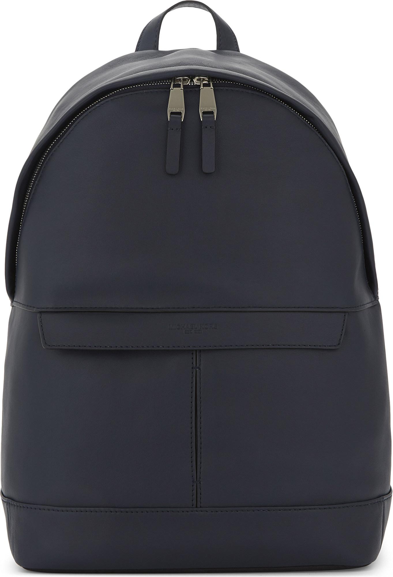 9b89362bb2fbf0 Lyst - Michael Kors Odin Smooth Leather Backpack in Blue