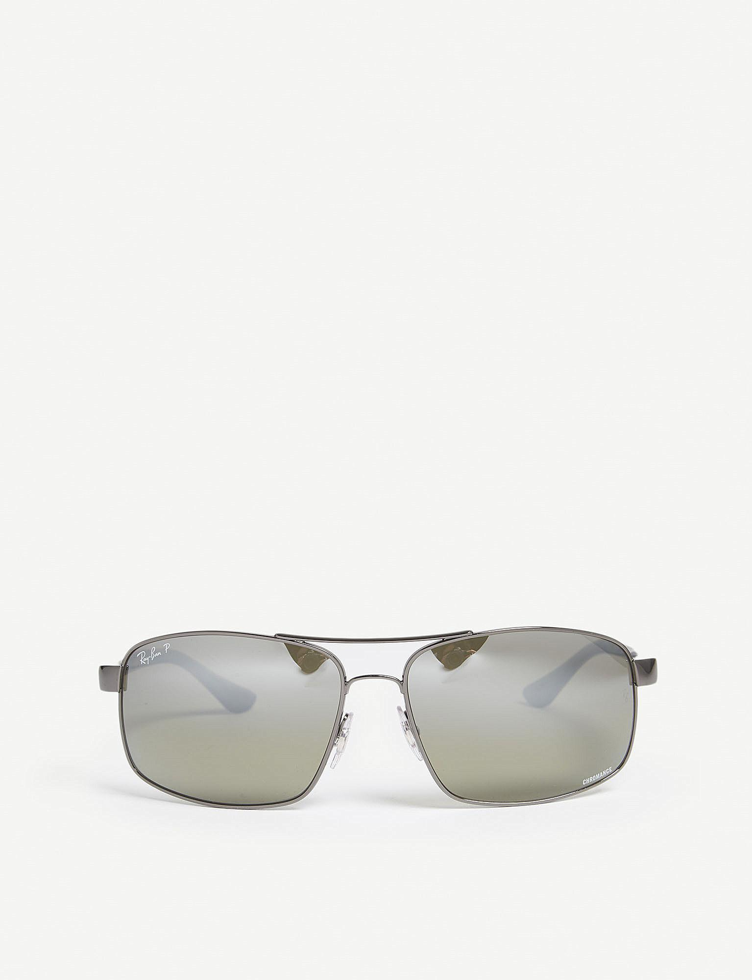 bde75cdfab8 Lyst - Ray-Ban Rb3604ch Chromance Square-frame Sunglasses in Gray ...