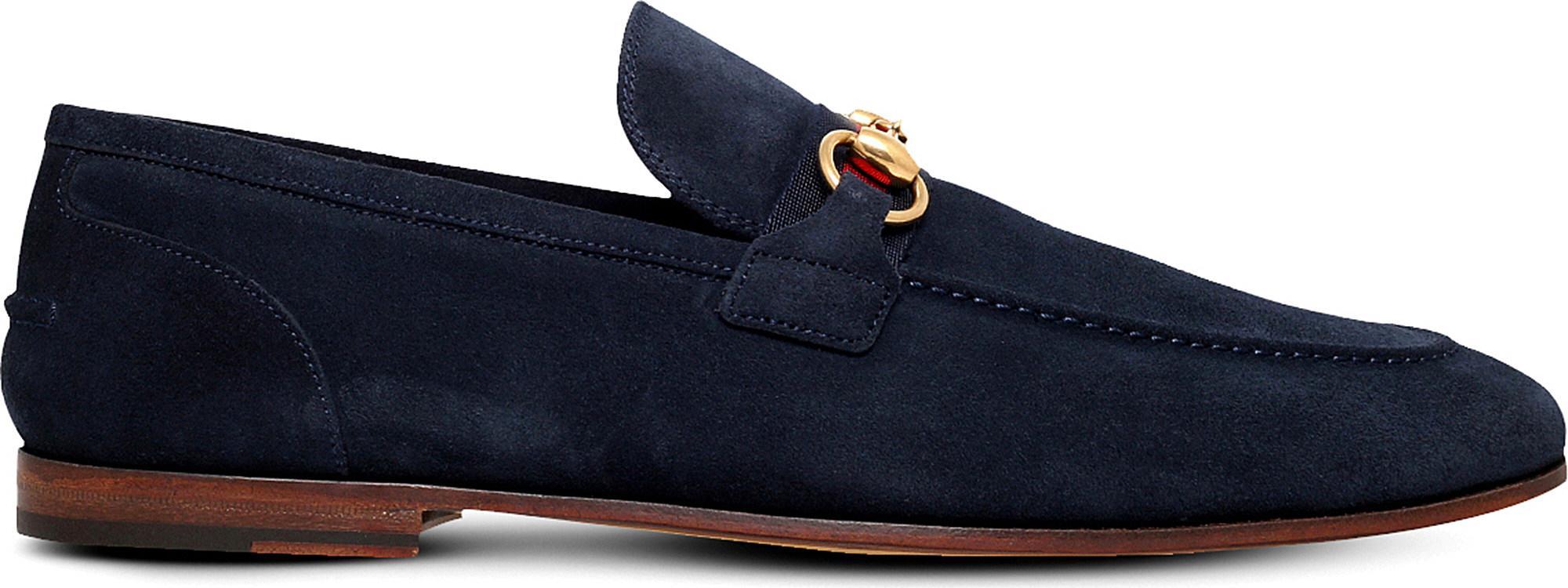 4554734dff3 Gucci Elanor Horsebit Suede Loafers in Black for Men - Lyst