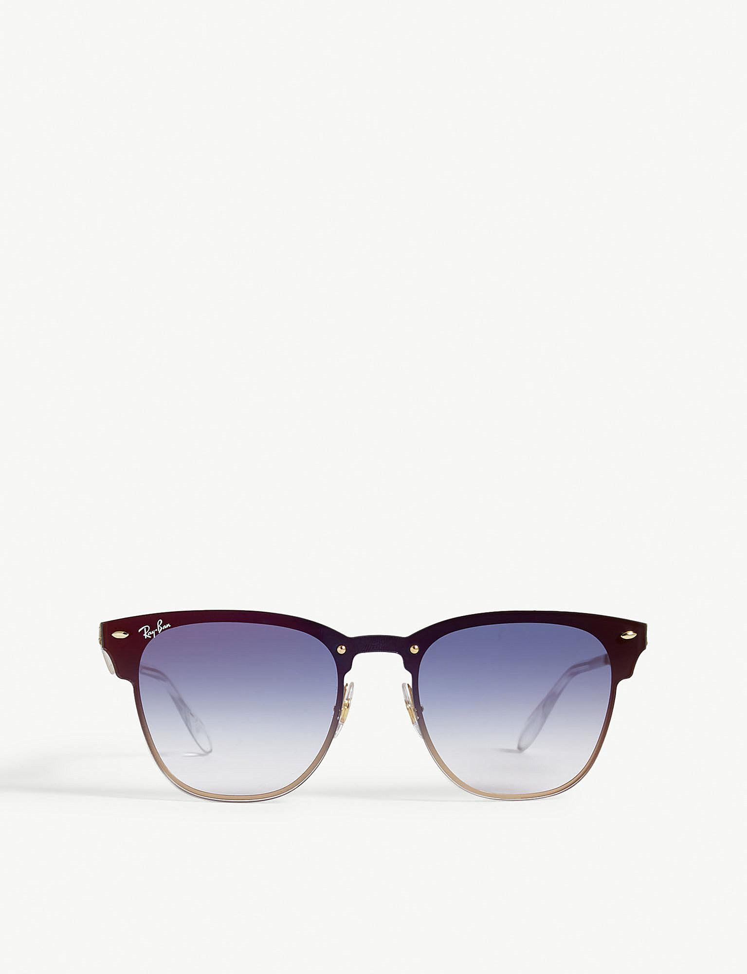 Lyst - Ray-Ban Mens Gold Classic Blaze Clubmaster Square-frame ...