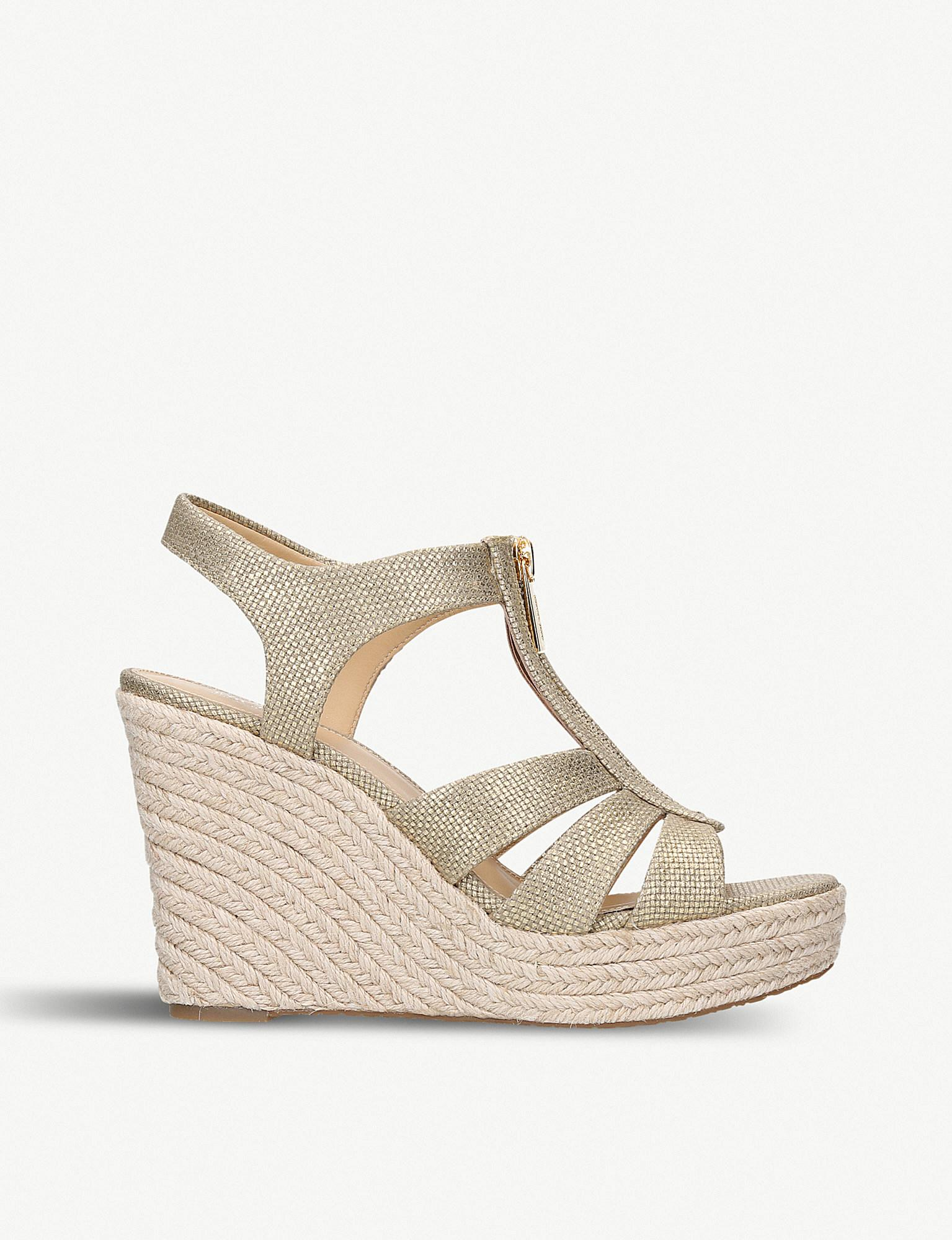 3ae4d9077064 Lyst - MICHAEL Michael Kors Berkley Jute-wedge Sandals in Metallic