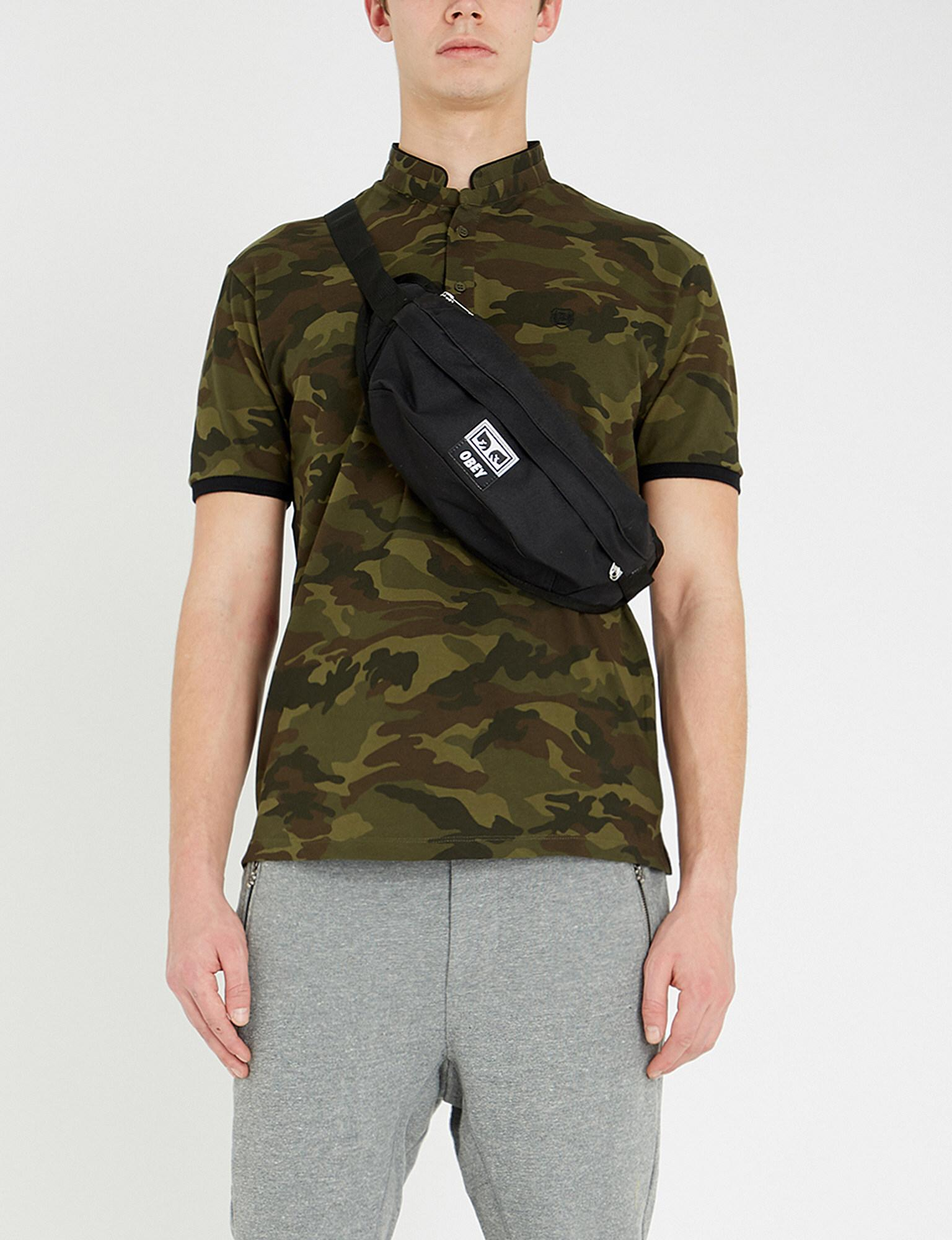 80705062 Lyst - The Kooples Mandarin Collar Camouflage-print Cotton-piqué ...